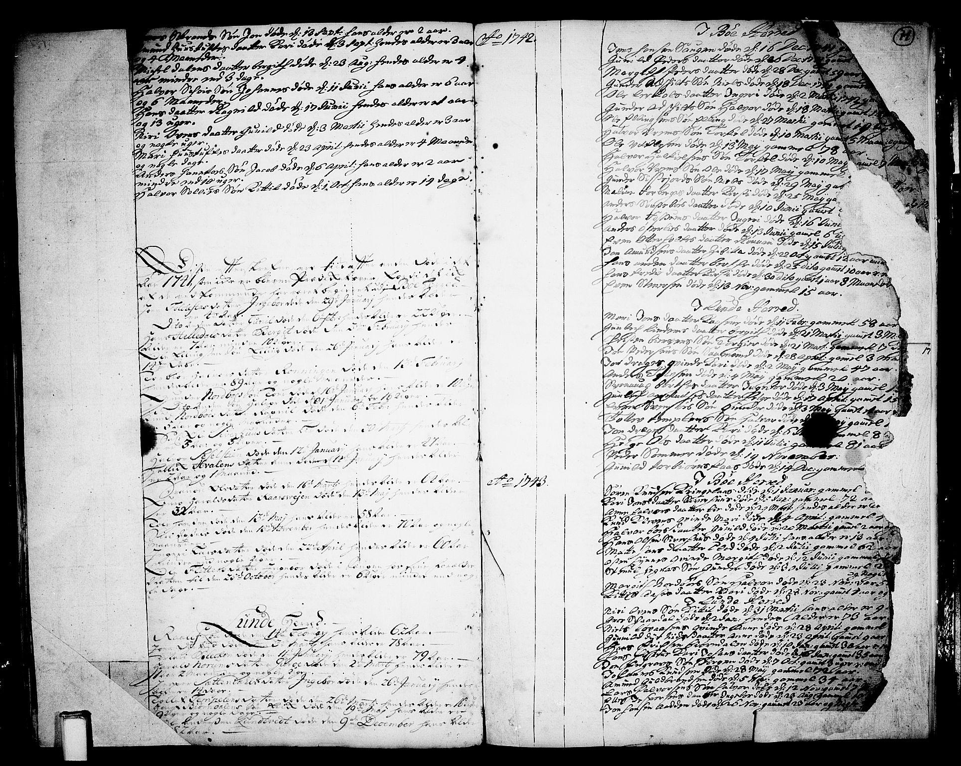 SAKO, Bø kirkebøker, F/Fa/L0003: Ministerialbok nr. 3, 1733-1748, s. 71