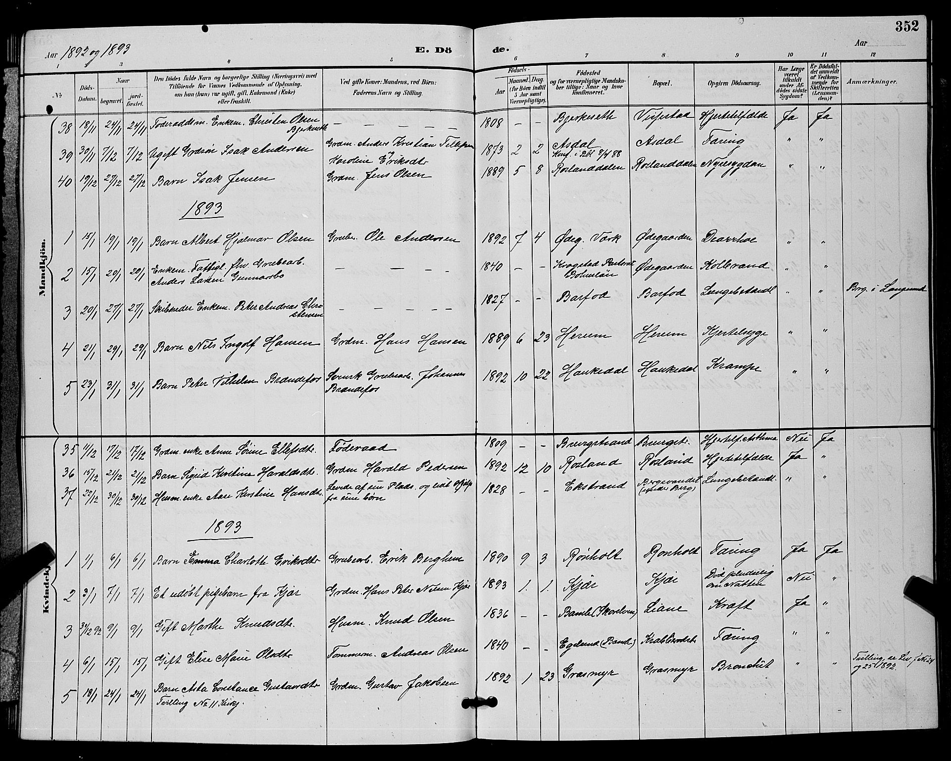SAKO, Bamble kirkebøker, G/Ga/L0009: Klokkerbok nr. I 9, 1888-1900, s. 352