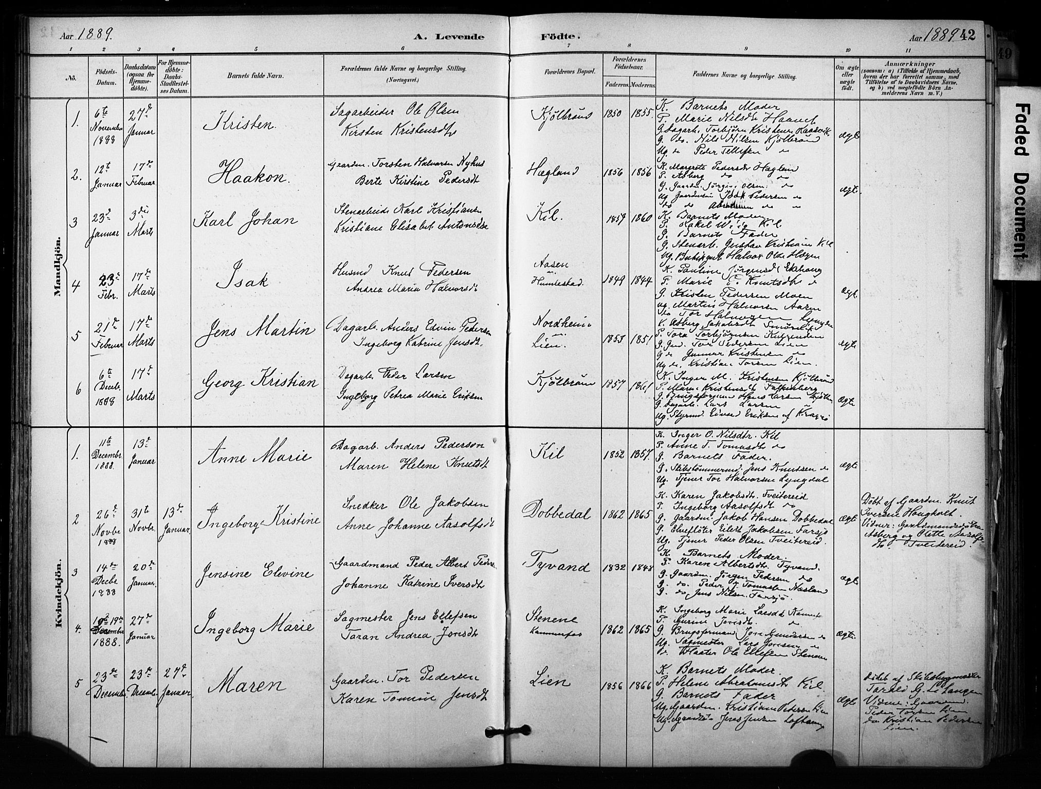 SAKO, Sannidal kirkebøker, F/Fa/L0015: Ministerialbok nr. 15, 1884-1899, s. 42