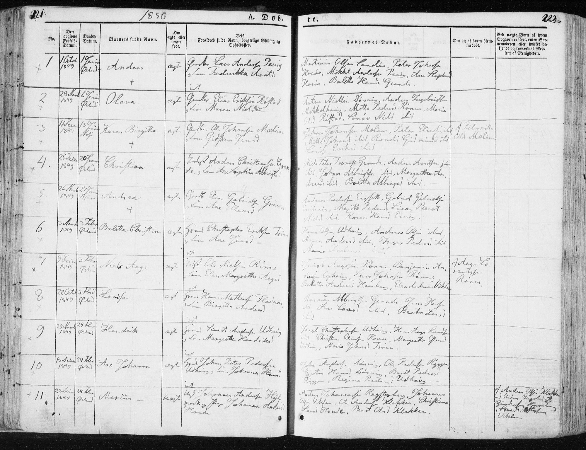 SAT, Ministerialprotokoller, klokkerbøker og fødselsregistre - Sør-Trøndelag, 659/L0736: Ministerialbok nr. 659A06, 1842-1856, s. 221-222