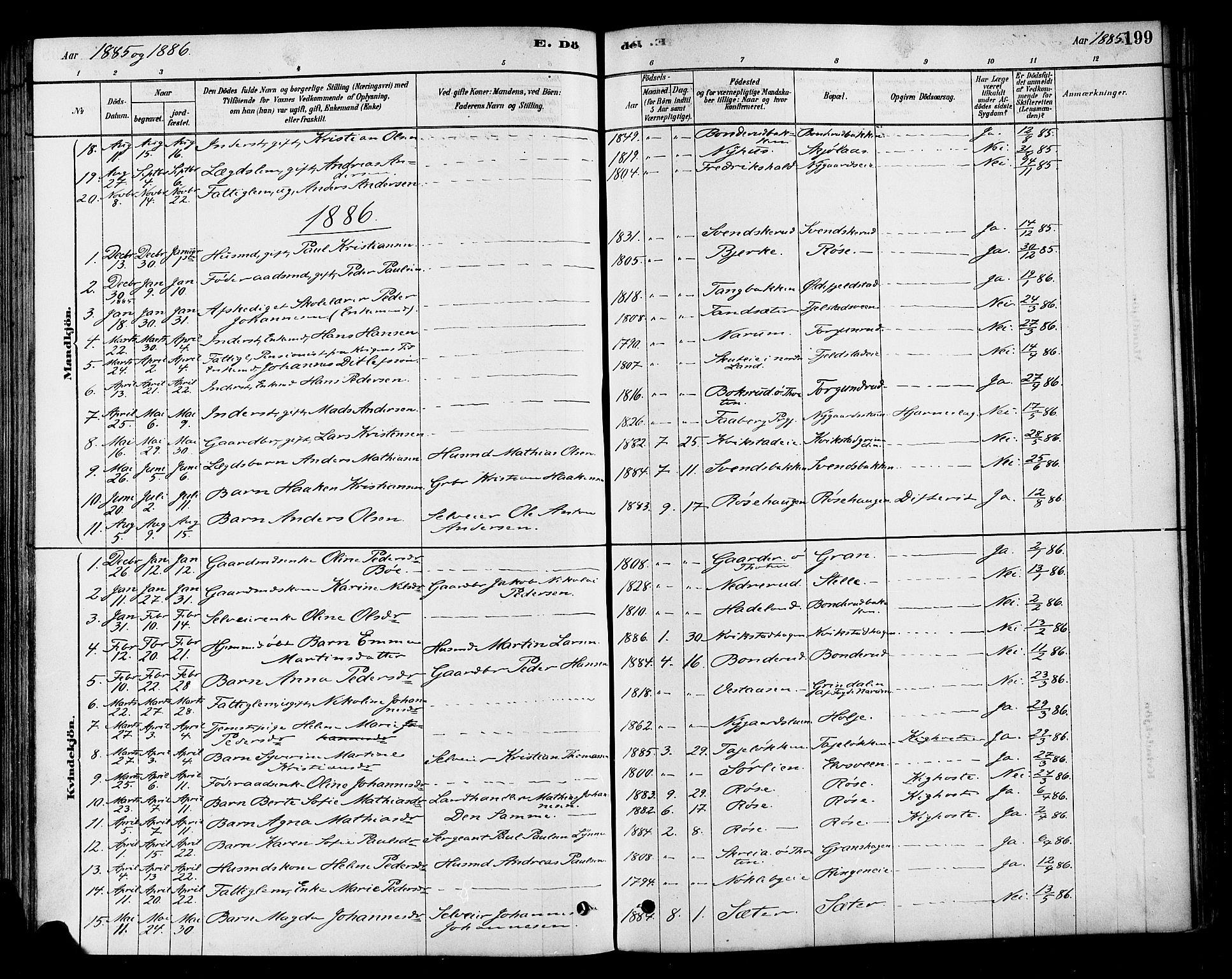 SAH, Vestre Toten prestekontor, Ministerialbok nr. 10, 1878-1894, s. 199