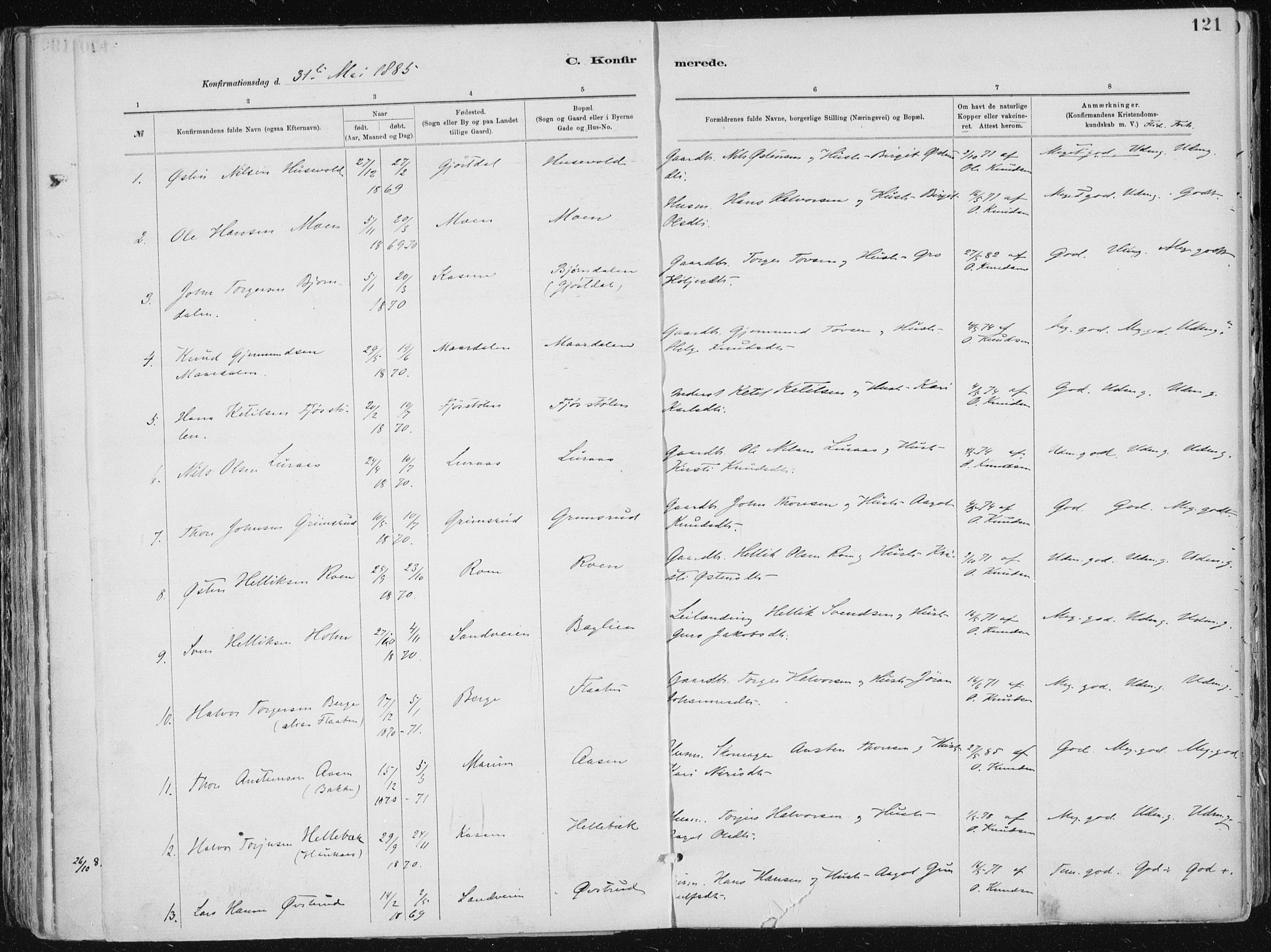 SAKO, Tinn kirkebøker, F/Fa/L0007: Ministerialbok nr. I 7, 1878-1922, s. 121