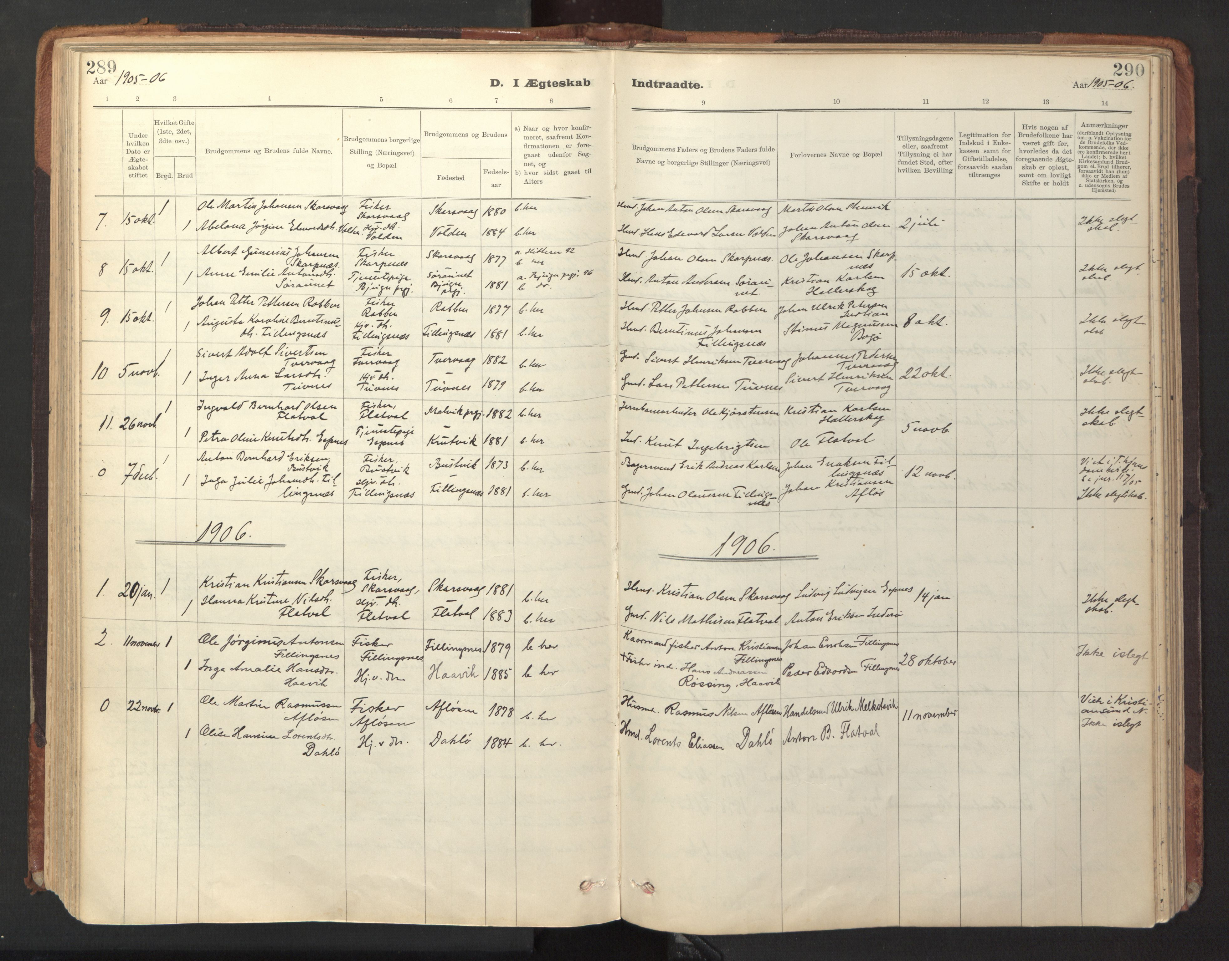 SAT, Ministerialprotokoller, klokkerbøker og fødselsregistre - Sør-Trøndelag, 641/L0596: Ministerialbok nr. 641A02, 1898-1915, s. 289-290