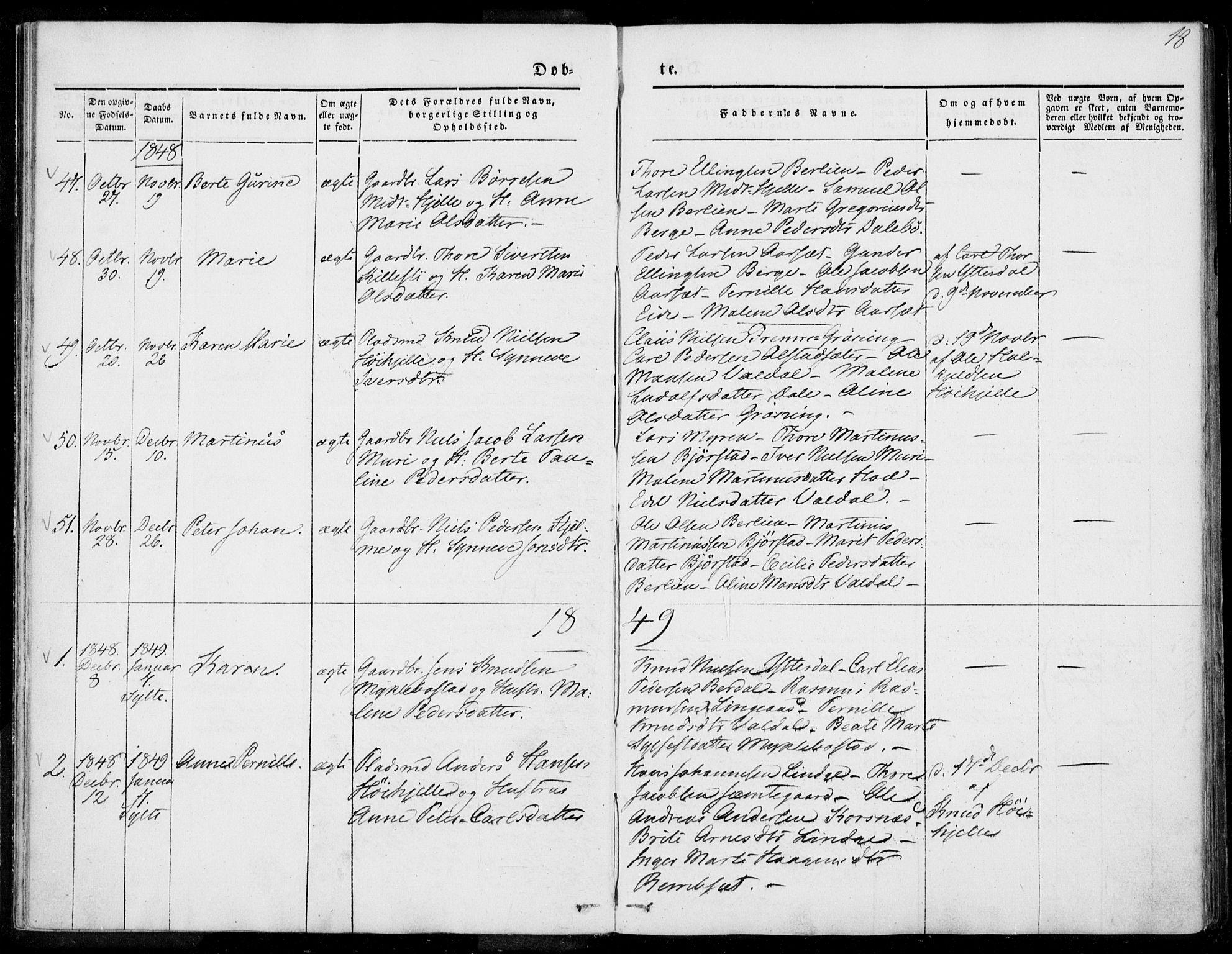 SAT, Ministerialprotokoller, klokkerbøker og fødselsregistre - Møre og Romsdal, 519/L0249: Ministerialbok nr. 519A08, 1846-1868, s. 18