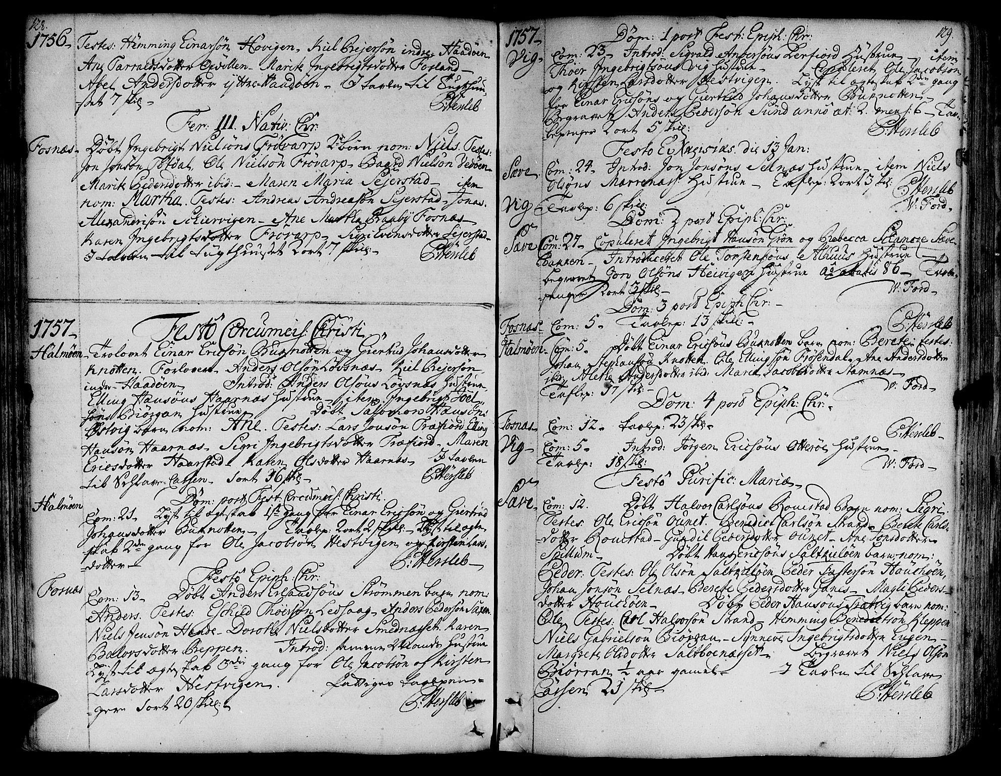SAT, Ministerialprotokoller, klokkerbøker og fødselsregistre - Nord-Trøndelag, 773/L0607: Ministerialbok nr. 773A01, 1751-1783, s. 128-129