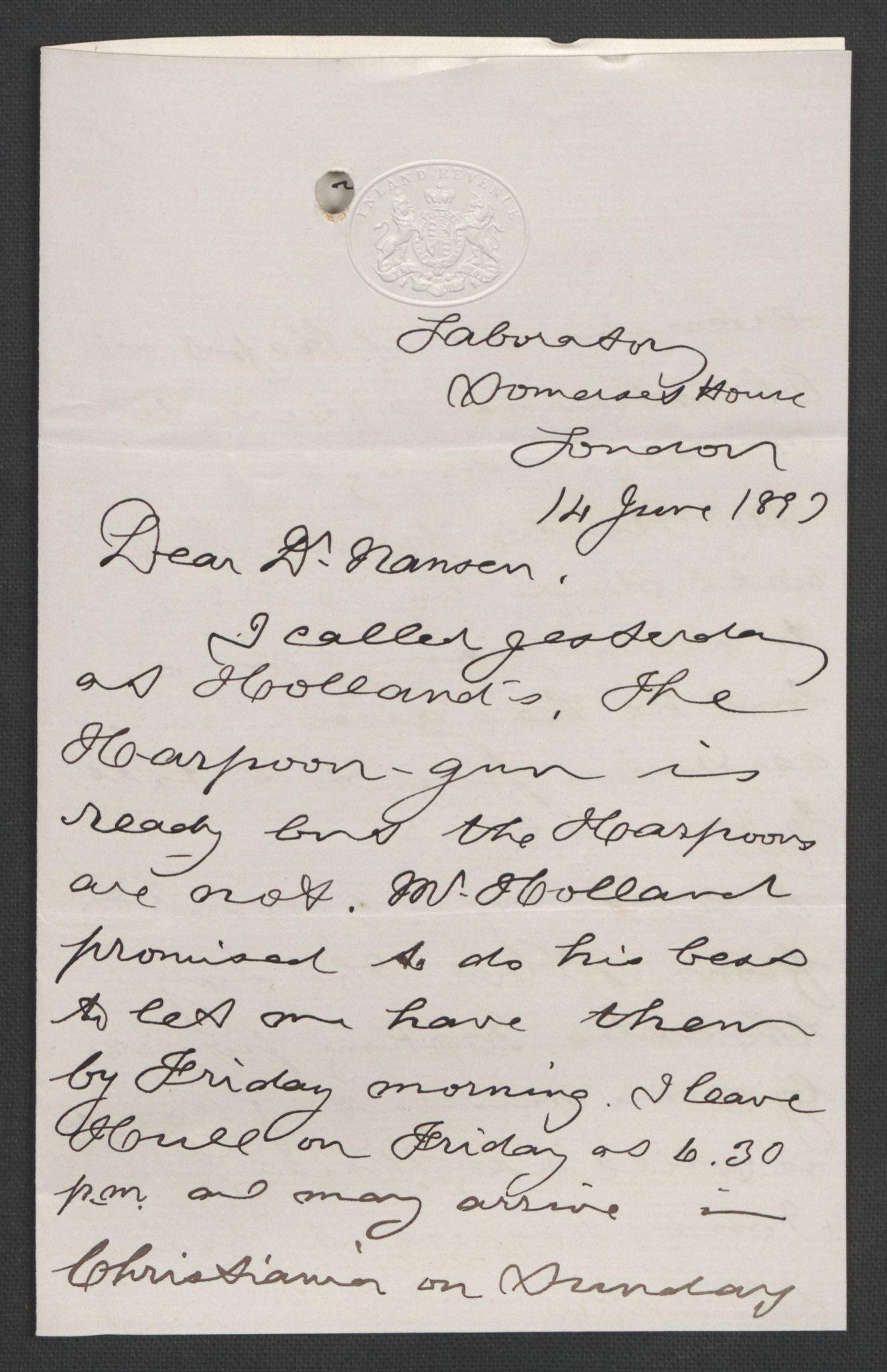 RA, Arbeidskomitéen for Fridtjof Nansens polarekspedisjon, D/L0003: Innk. brev og telegrammer vedr. proviant og utrustning, 1893, s. 183