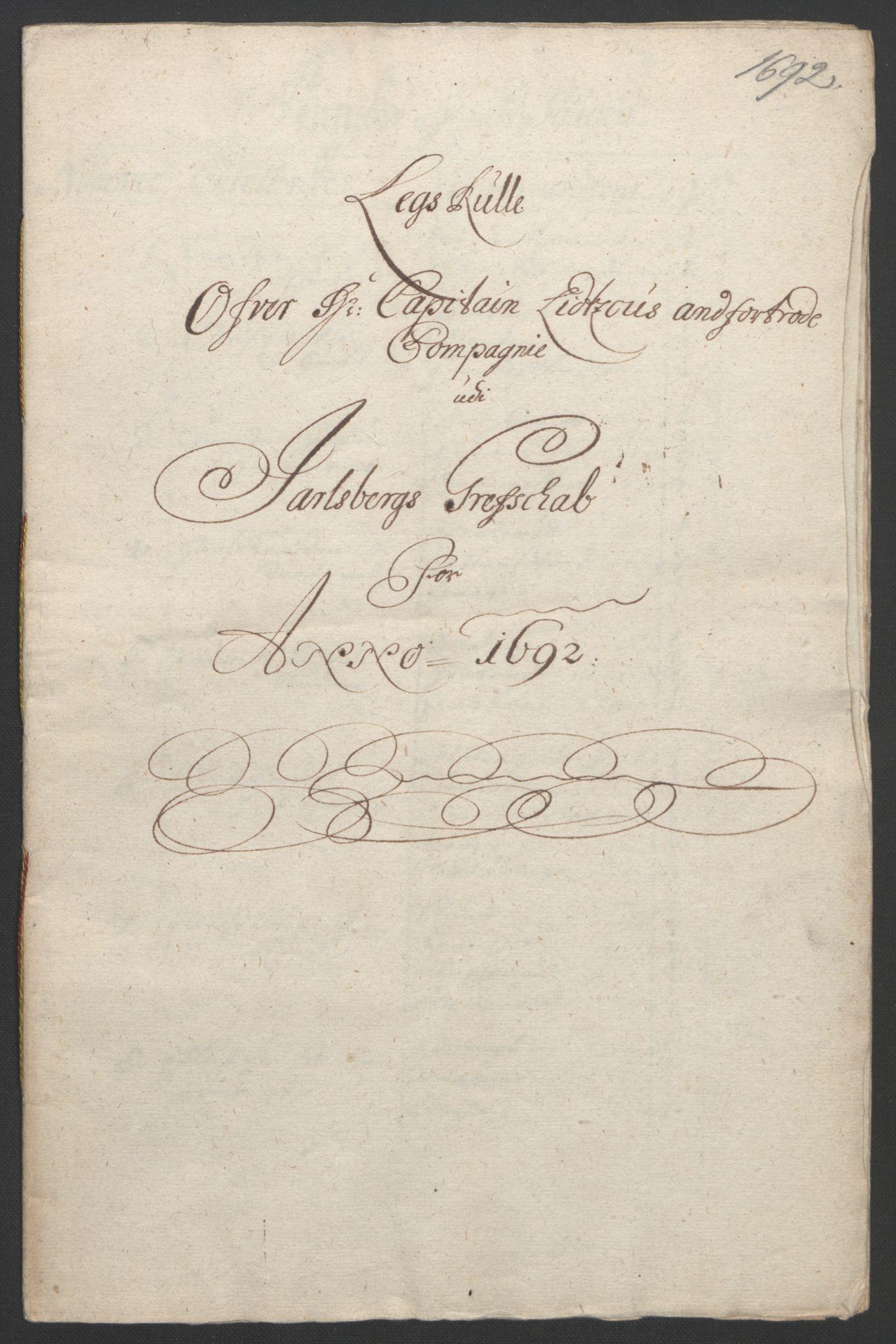 RA, Rentekammeret inntil 1814, Reviderte regnskaper, Fogderegnskap, R32/L1865: Fogderegnskap Jarlsberg grevskap, 1692, s. 218