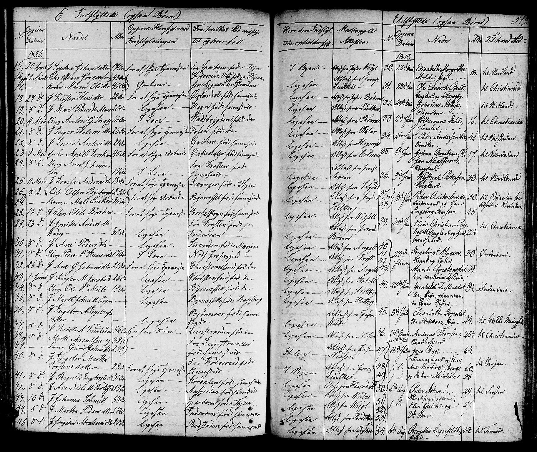 SAT, Ministerialprotokoller, klokkerbøker og fødselsregistre - Sør-Trøndelag, 601/L0045: Ministerialbok nr. 601A13, 1821-1831, s. 519