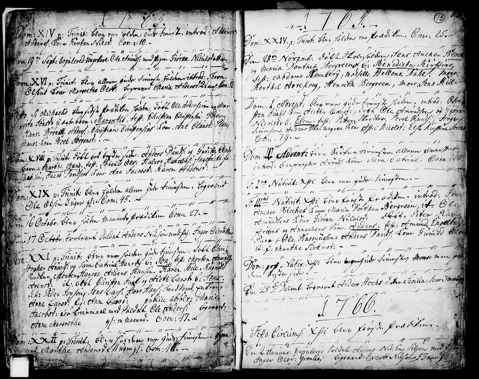 SAKO, Porsgrunn kirkebøker , F/Fa/L0002: Ministerialbok nr. 2, 1764-1814, s. 12-13