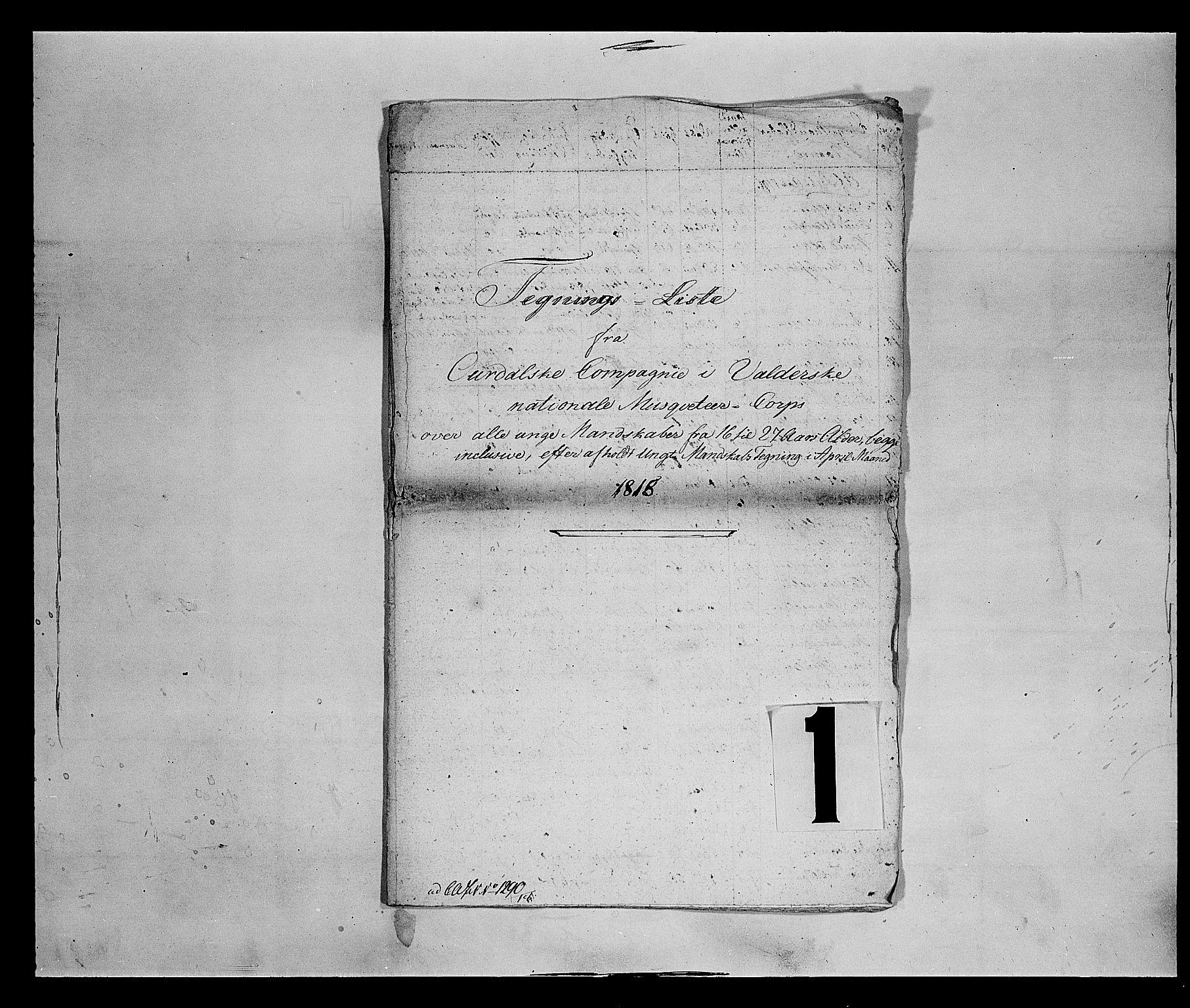 SAH, Fylkesmannen i Oppland, K/Kb/L1159: Valderske nasjonale musketérkorps - Aurdalske kompani, 1818-1860, s. 2