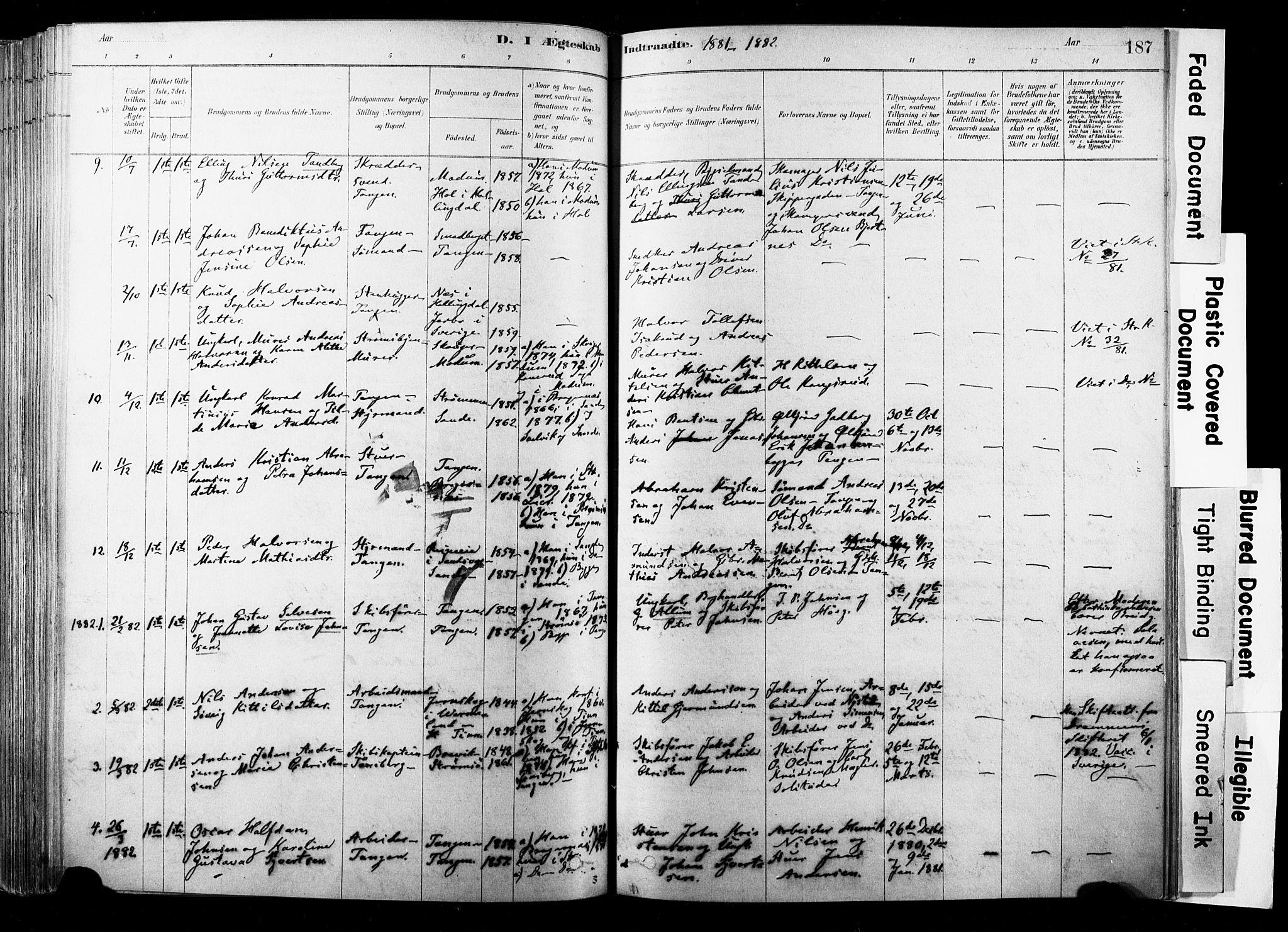 SAKO, Strømsø kirkebøker, F/Fb/L0006: Ministerialbok nr. II 6, 1879-1910, s. 187