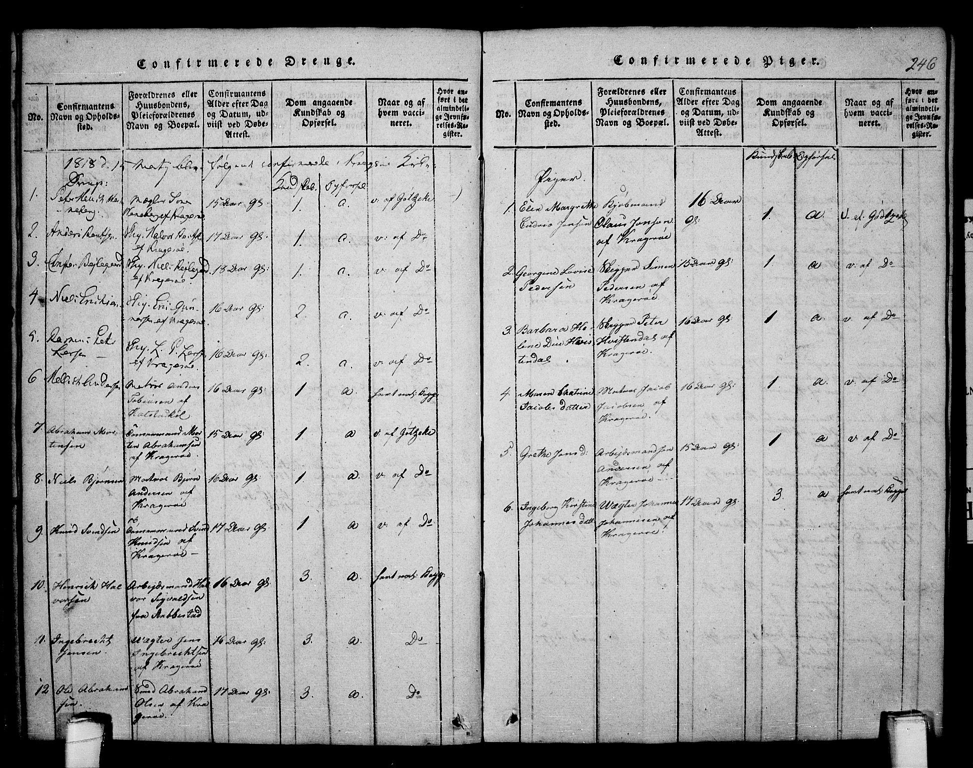 SAKO, Kragerø kirkebøker, F/Fa/L0004: Ministerialbok nr. 4, 1814-1831, s. 246