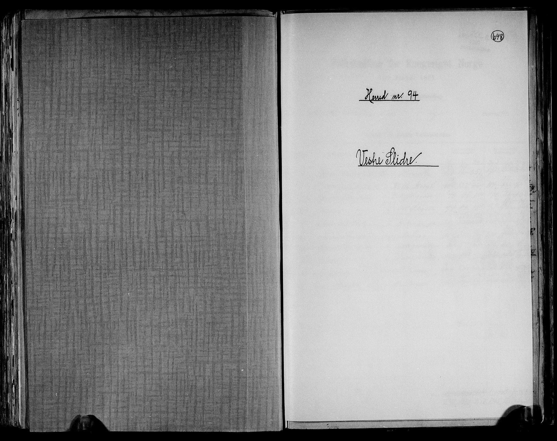 RA, Folketelling 1891 for 0543 Vestre Slidre herred, 1891, s. 1