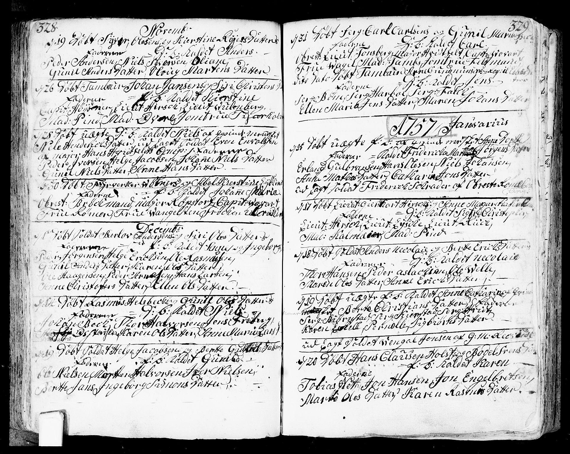 SAO, Fredrikstad prestekontor Kirkebøker, F/Fa/L0002: Ministerialbok nr. 2, 1750-1804, s. 328-329