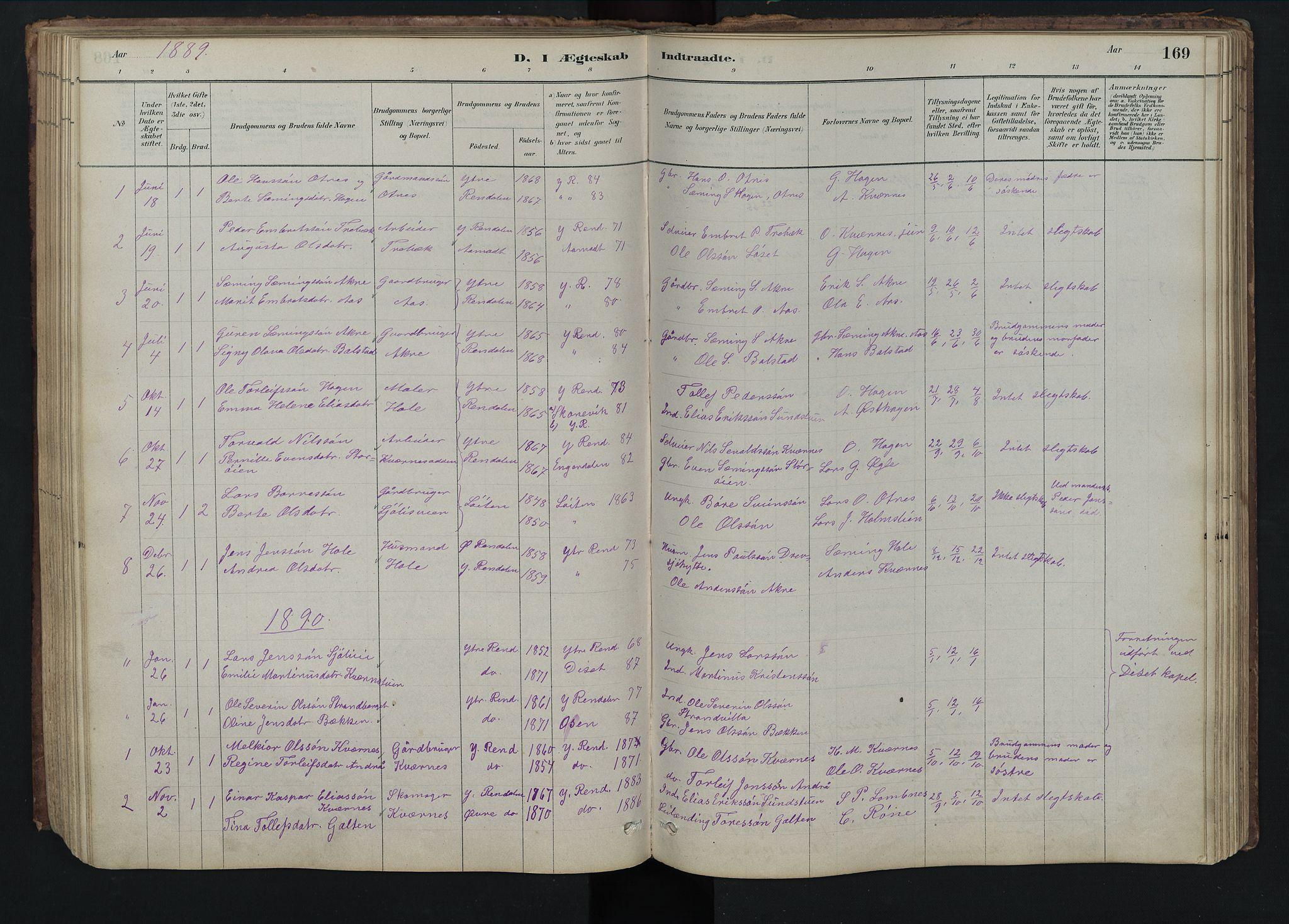 SAH, Rendalen prestekontor, H/Ha/Hab/L0009: Klokkerbok nr. 9, 1879-1902, s. 169
