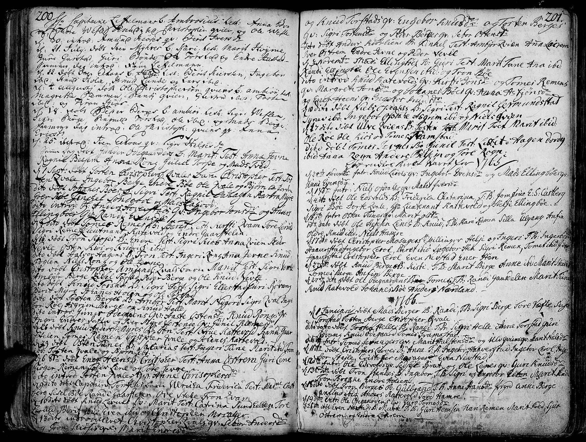 SAH, Vang prestekontor, Valdres, Ministerialbok nr. 1, 1730-1796, s. 200-201