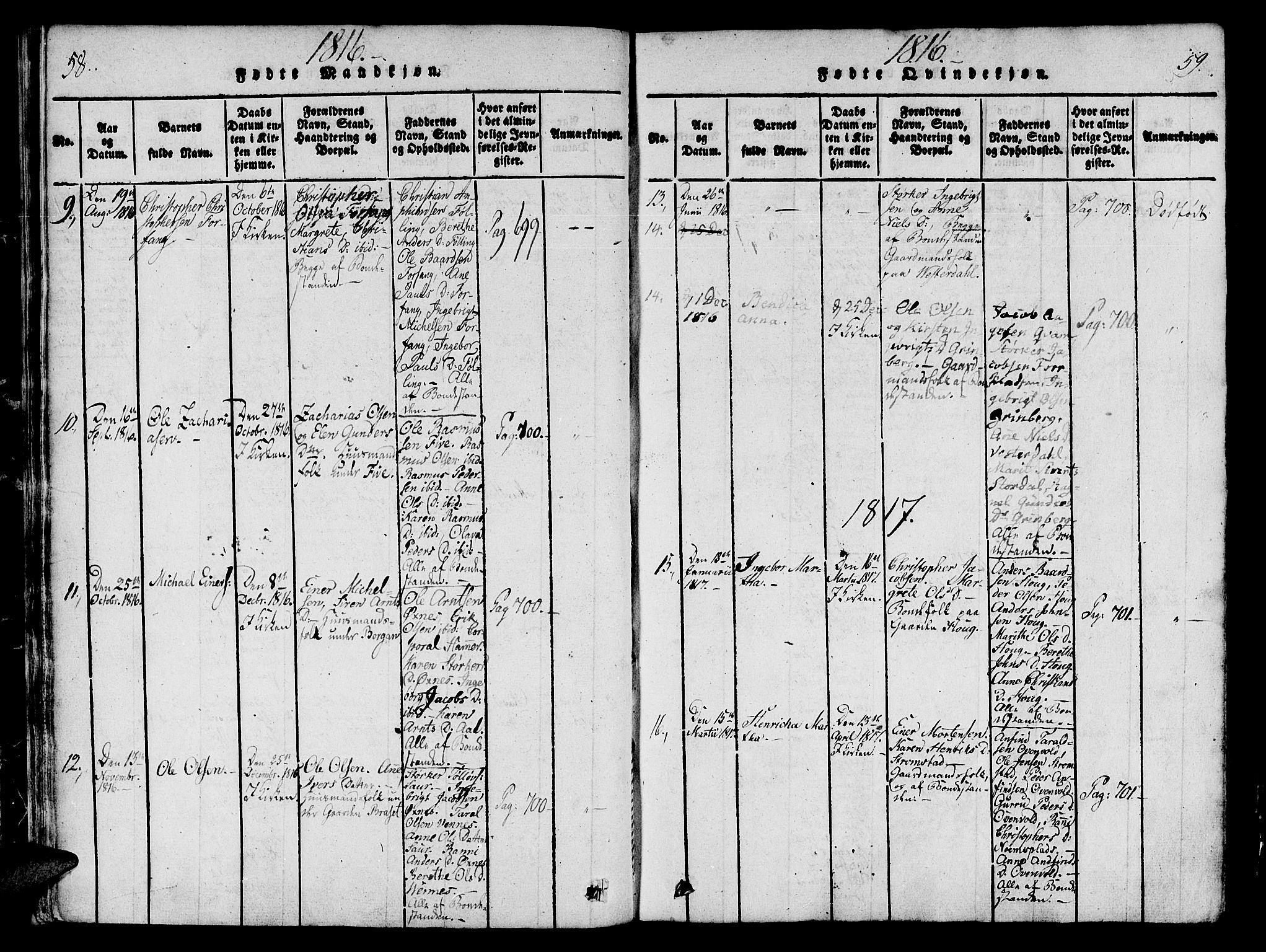 SAT, Ministerialprotokoller, klokkerbøker og fødselsregistre - Nord-Trøndelag, 746/L0441: Ministerialbok nr. 746A03 /2, 1816-1827, s. 58-59
