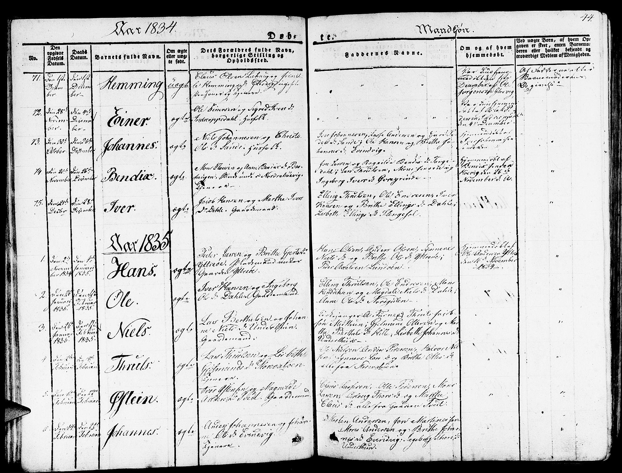 SAB, Gulen Sokneprestembete, Ministerialbok nr. A 19, 1826-1836, s. 44