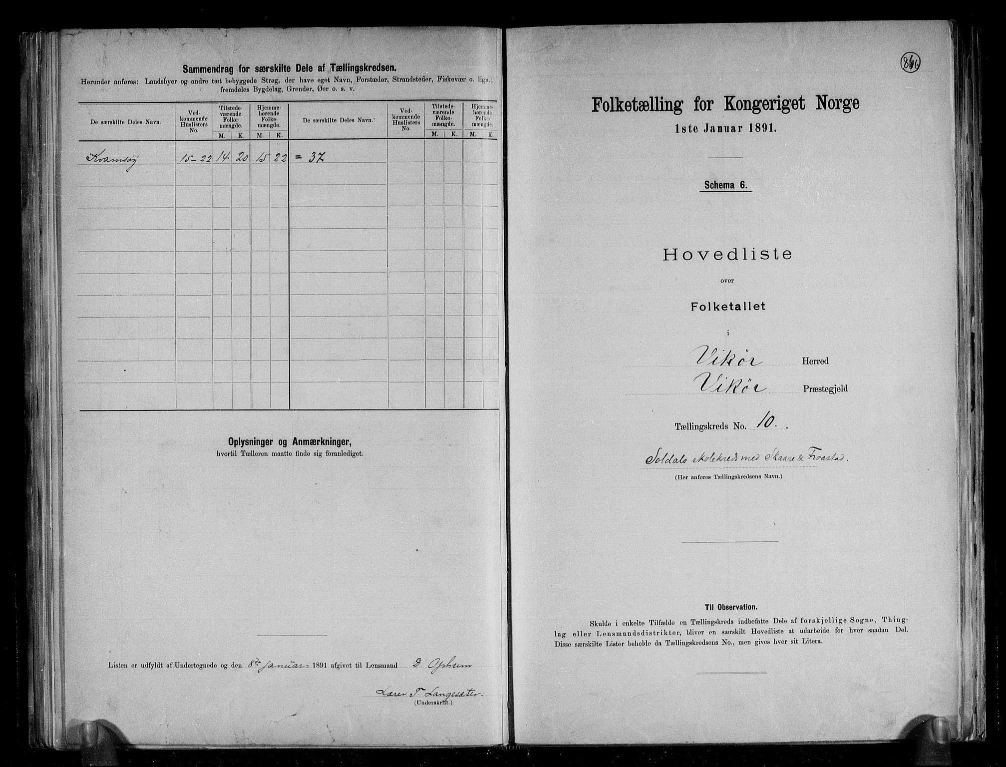 RA, Folketelling 1891 for 1238 Vikør herred, 1891, s. 23