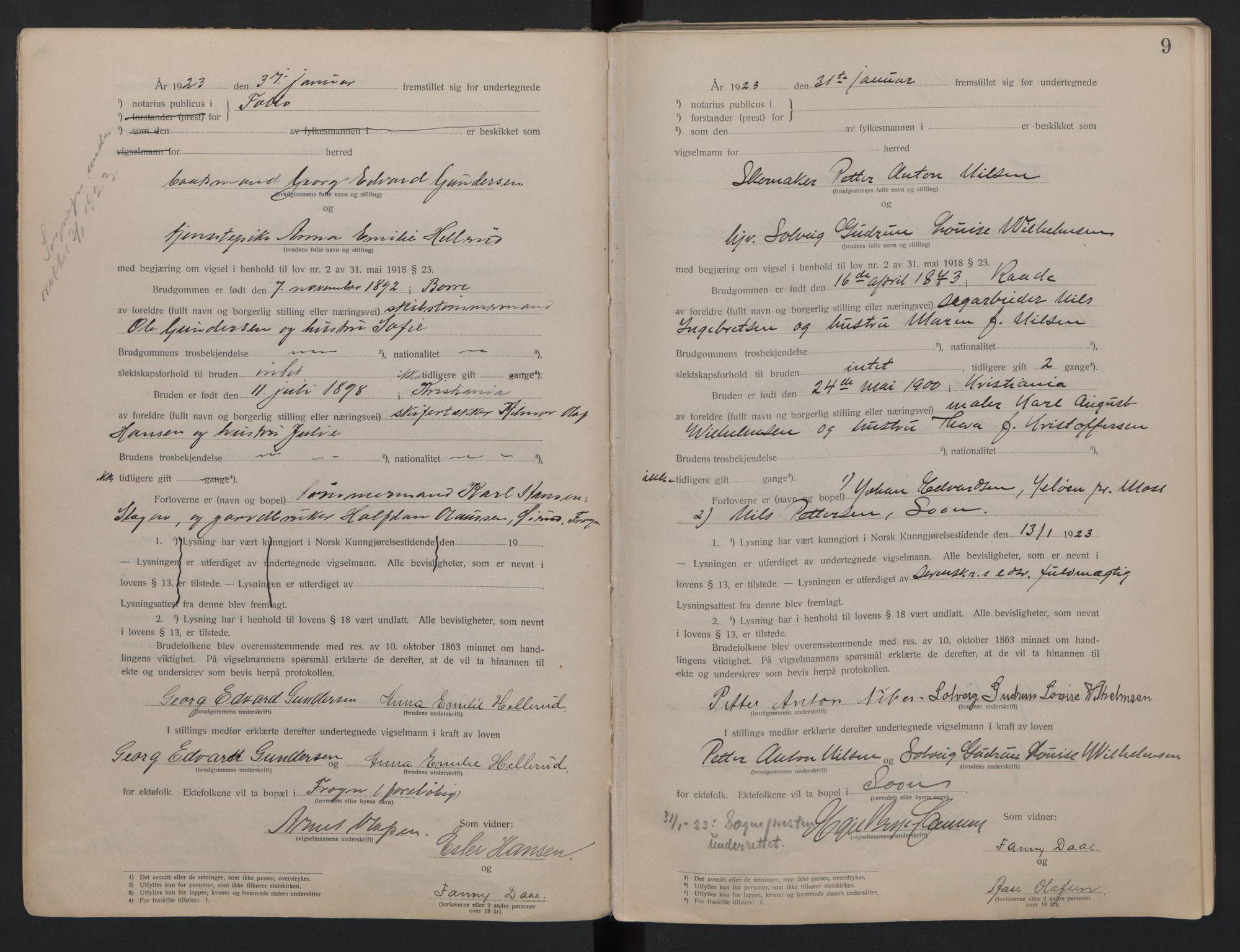 SAO, Follo sorenskriveri, L/La/Lab/L0001: Vigselsbok, 1920-1942, s. 9
