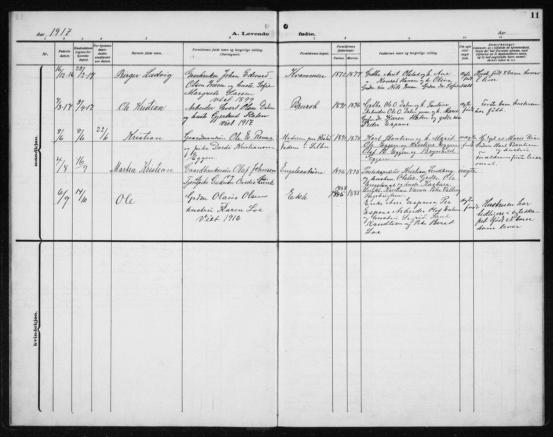 SAT, Ministerialprotokoller, klokkerbøker og fødselsregistre - Sør-Trøndelag, 608/L0342: Klokkerbok nr. 608C08, 1912-1938, s. 11