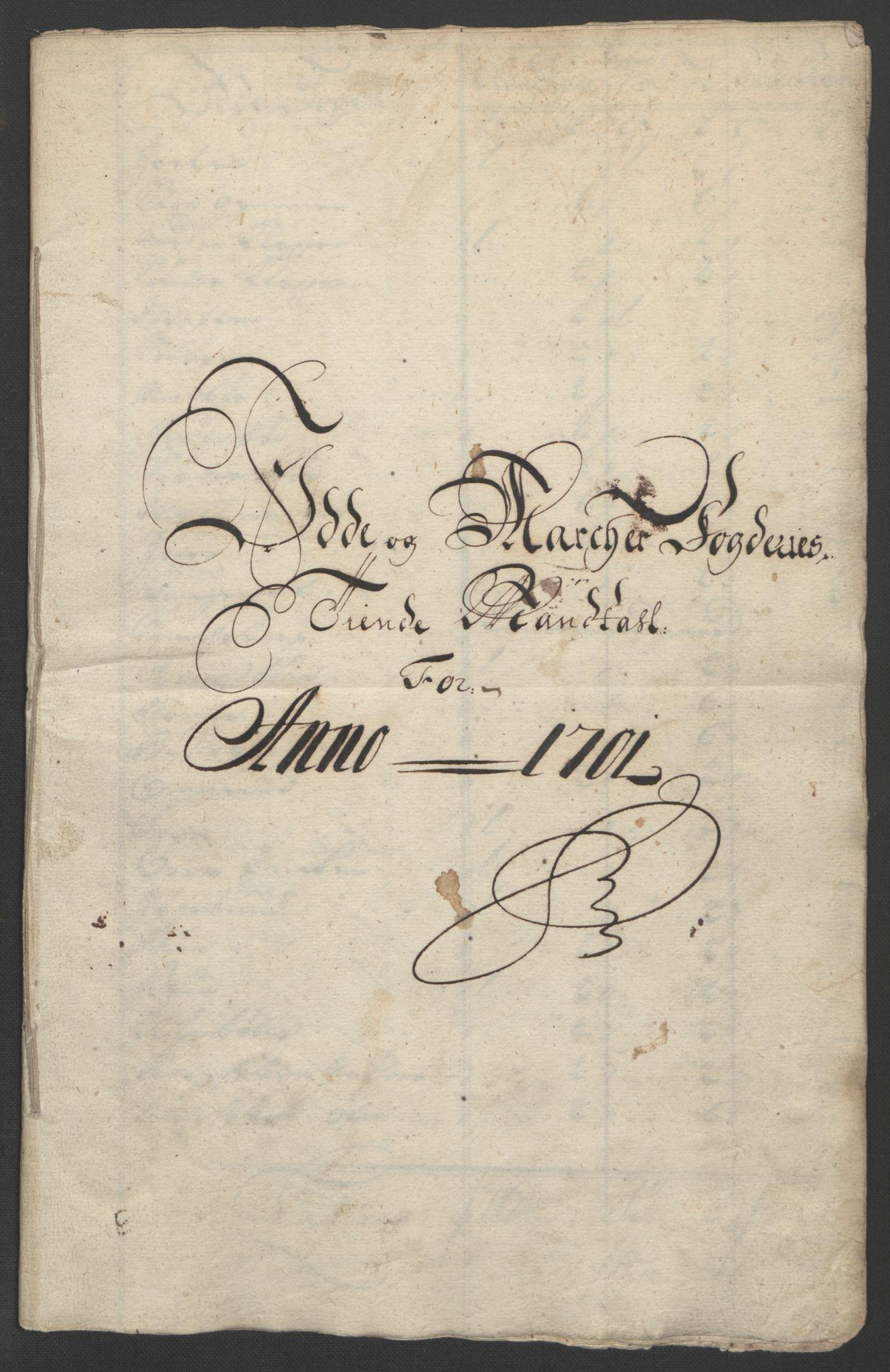 RA, Rentekammeret inntil 1814, Reviderte regnskaper, Fogderegnskap, R01/L0015: Fogderegnskap Idd og Marker, 1700-1701, s. 219