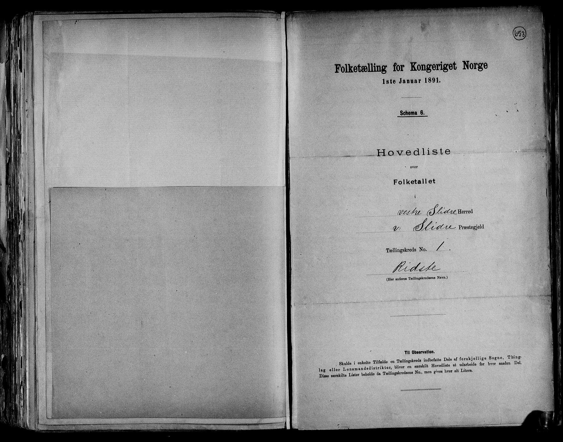 RA, Folketelling 1891 for 0543 Vestre Slidre herred, 1891, s. 6