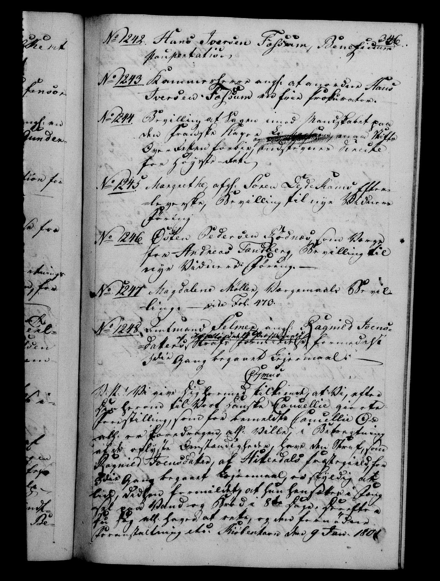 RA, Danske Kanselli 1800-1814, H/Hf/Hfb/Hfba/L0001: Registranter, 1800-1801, s. 346a