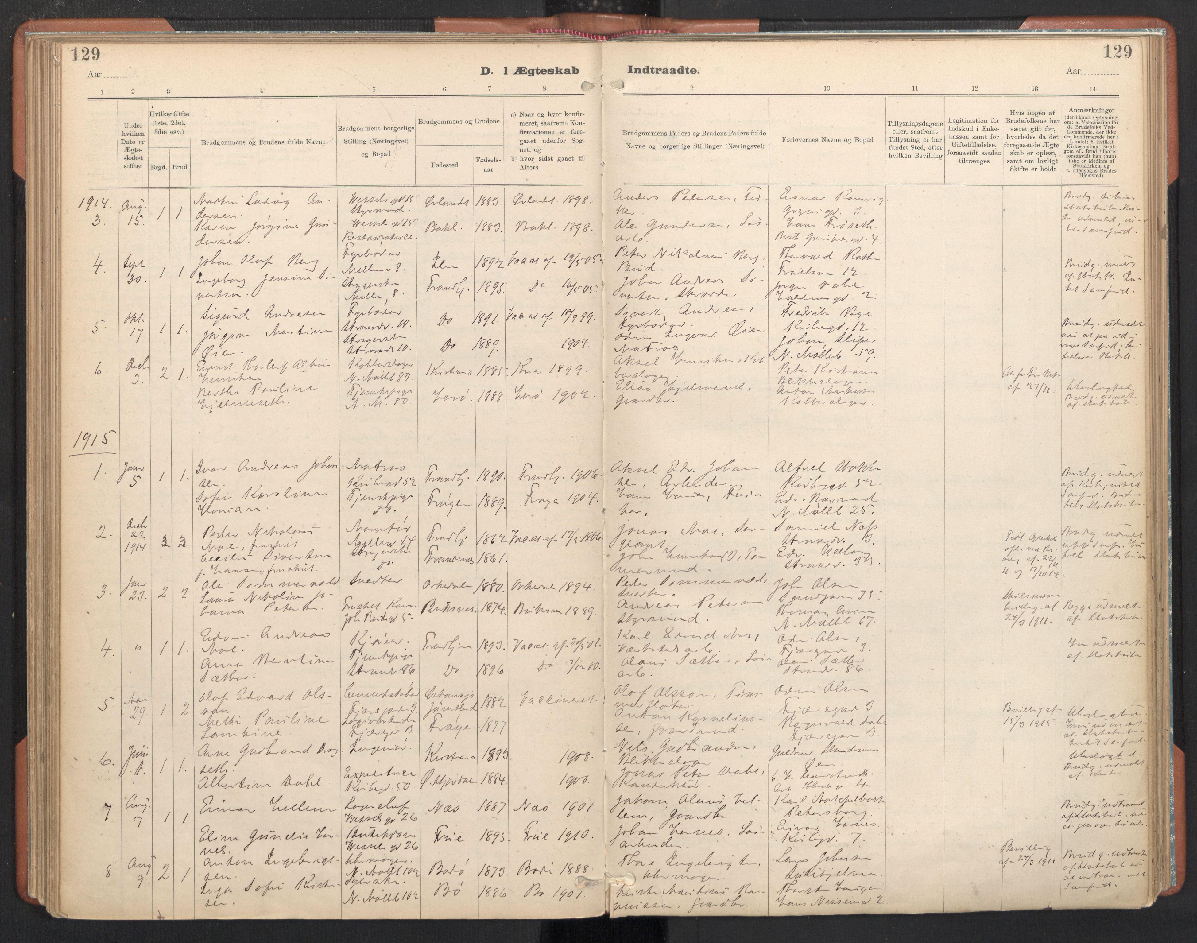 SAT, Ministerialprotokoller, klokkerbøker og fødselsregistre - Sør-Trøndelag, 605/L0244: Ministerialbok nr. 605A06, 1908-1954, s. 129