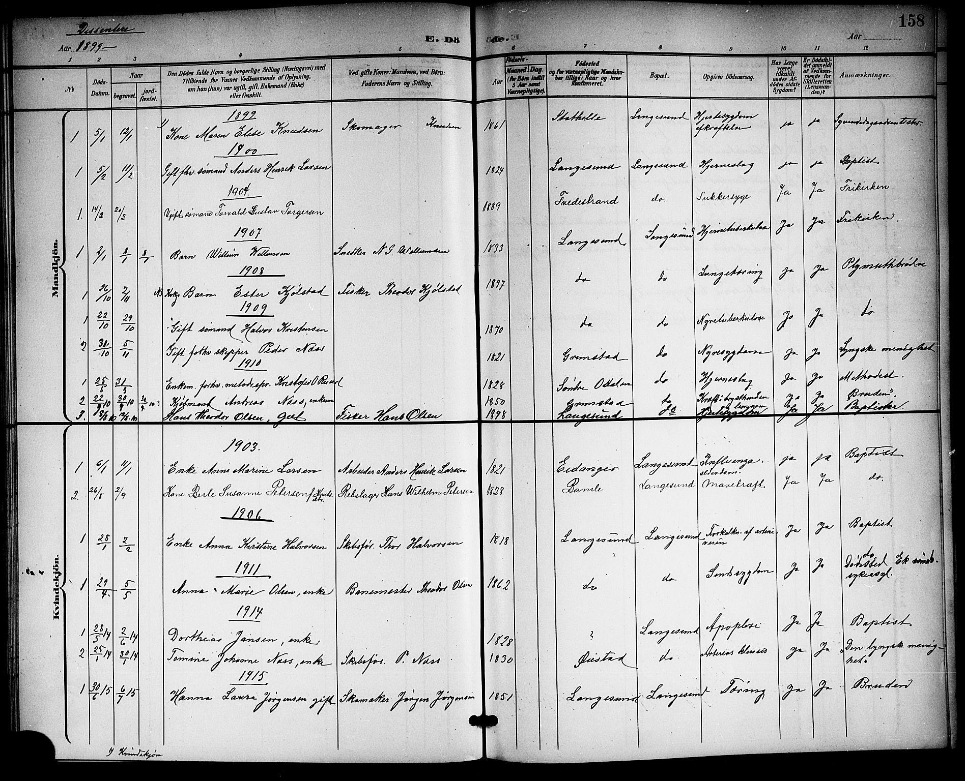 SAKO, Langesund kirkebøker, G/Ga/L0006: Klokkerbok nr. 6, 1899-1918, s. 158