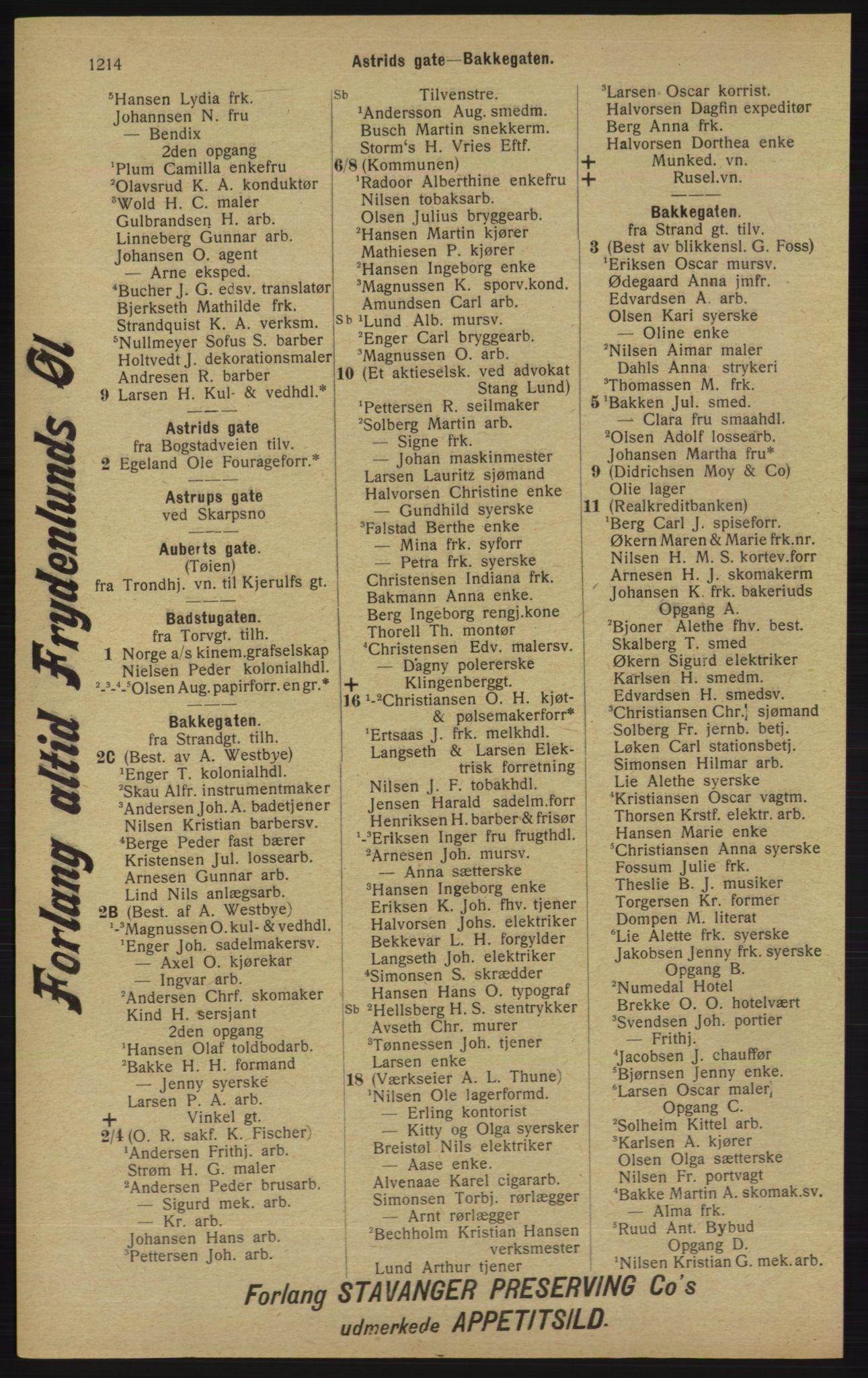 RA, Kristiania adressebok (publikasjon)*, 1913, s. 1214