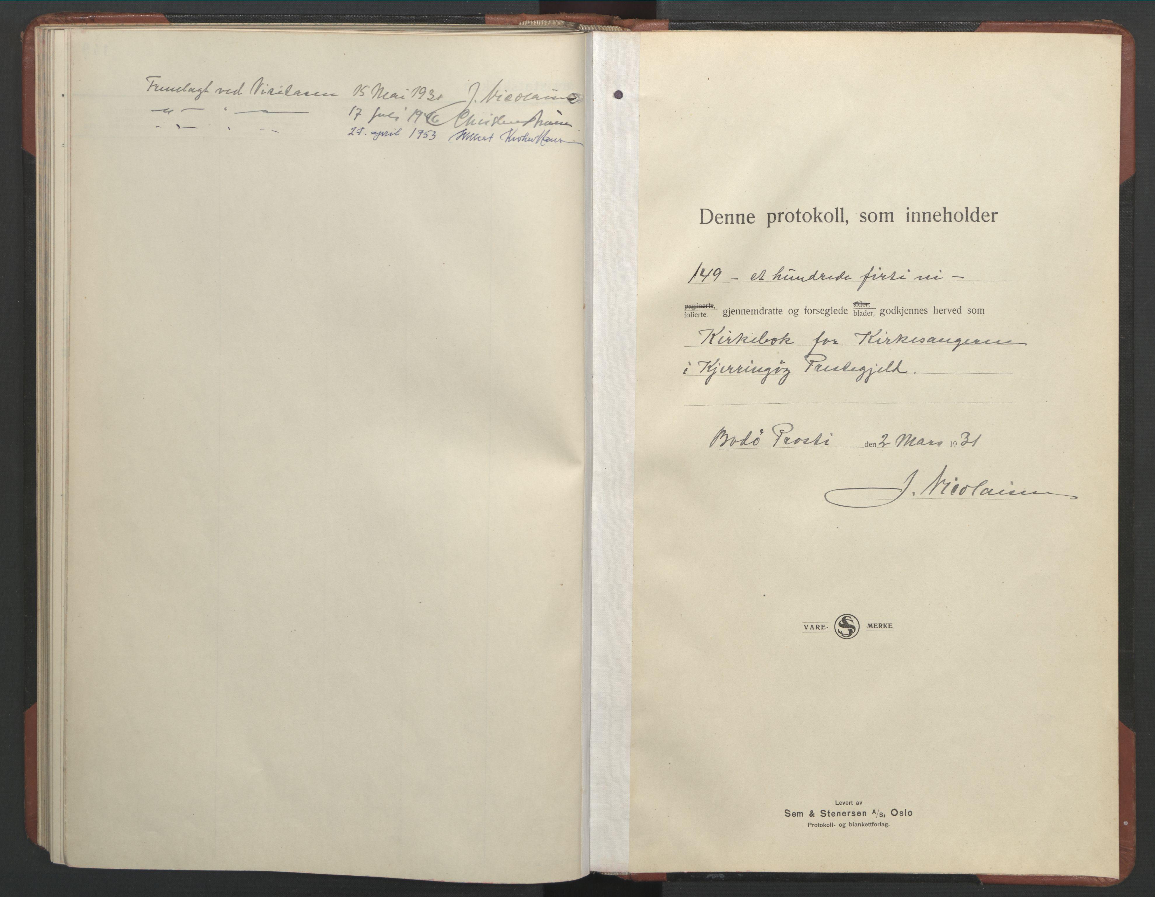 SAT, Ministerialprotokoller, klokkerbøker og fødselsregistre - Nordland, 803/L0078: Klokkerbok nr. 803C05, 1931-1952