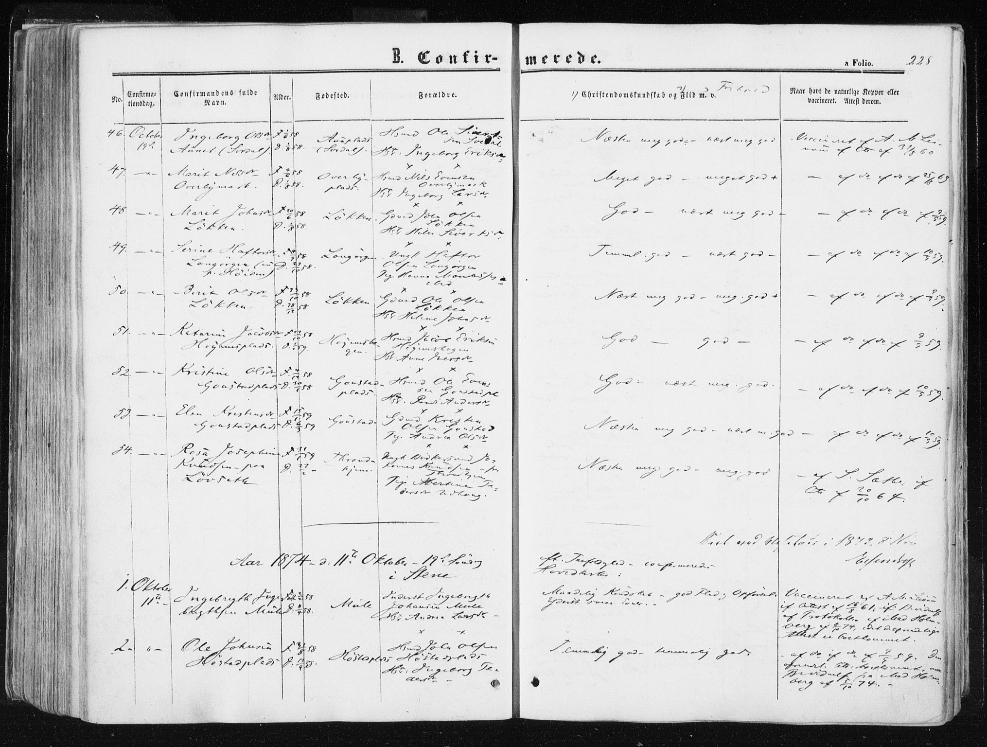 SAT, Ministerialprotokoller, klokkerbøker og fødselsregistre - Sør-Trøndelag, 612/L0377: Ministerialbok nr. 612A09, 1859-1877, s. 228