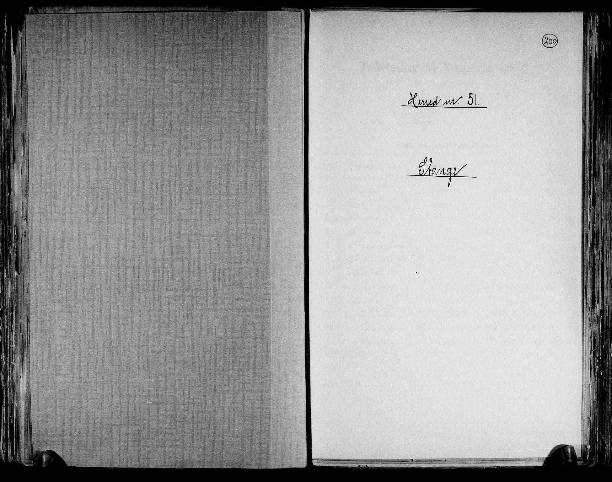 RA, Folketelling 1891 for 0417 Stange herred, 1891, s. 1
