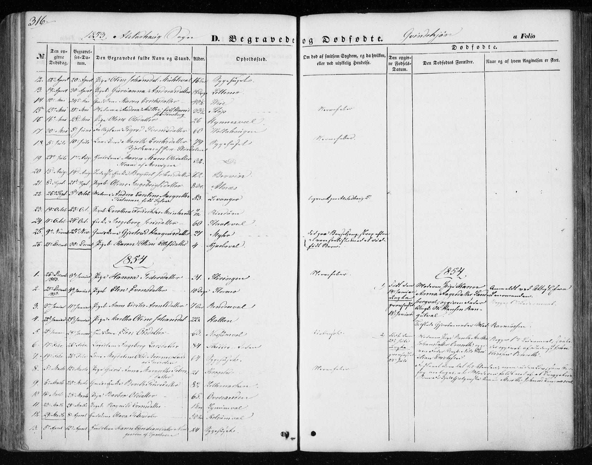 SAT, Ministerialprotokoller, klokkerbøker og fødselsregistre - Nord-Trøndelag, 717/L0154: Ministerialbok nr. 717A07 /1, 1850-1862, s. 316