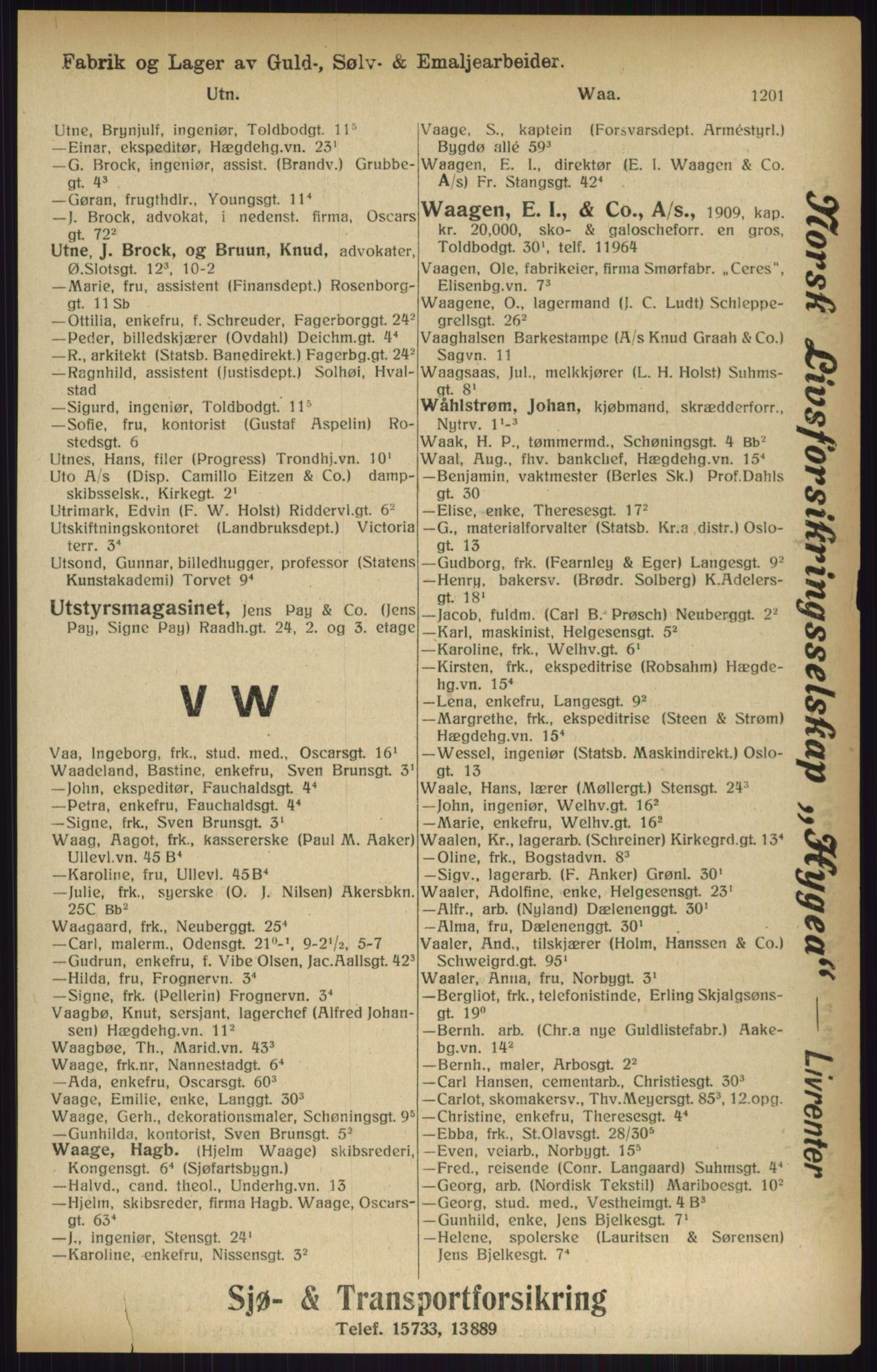 RA, Kristiania adressebok (publikasjon)*, 1916, s. 1201