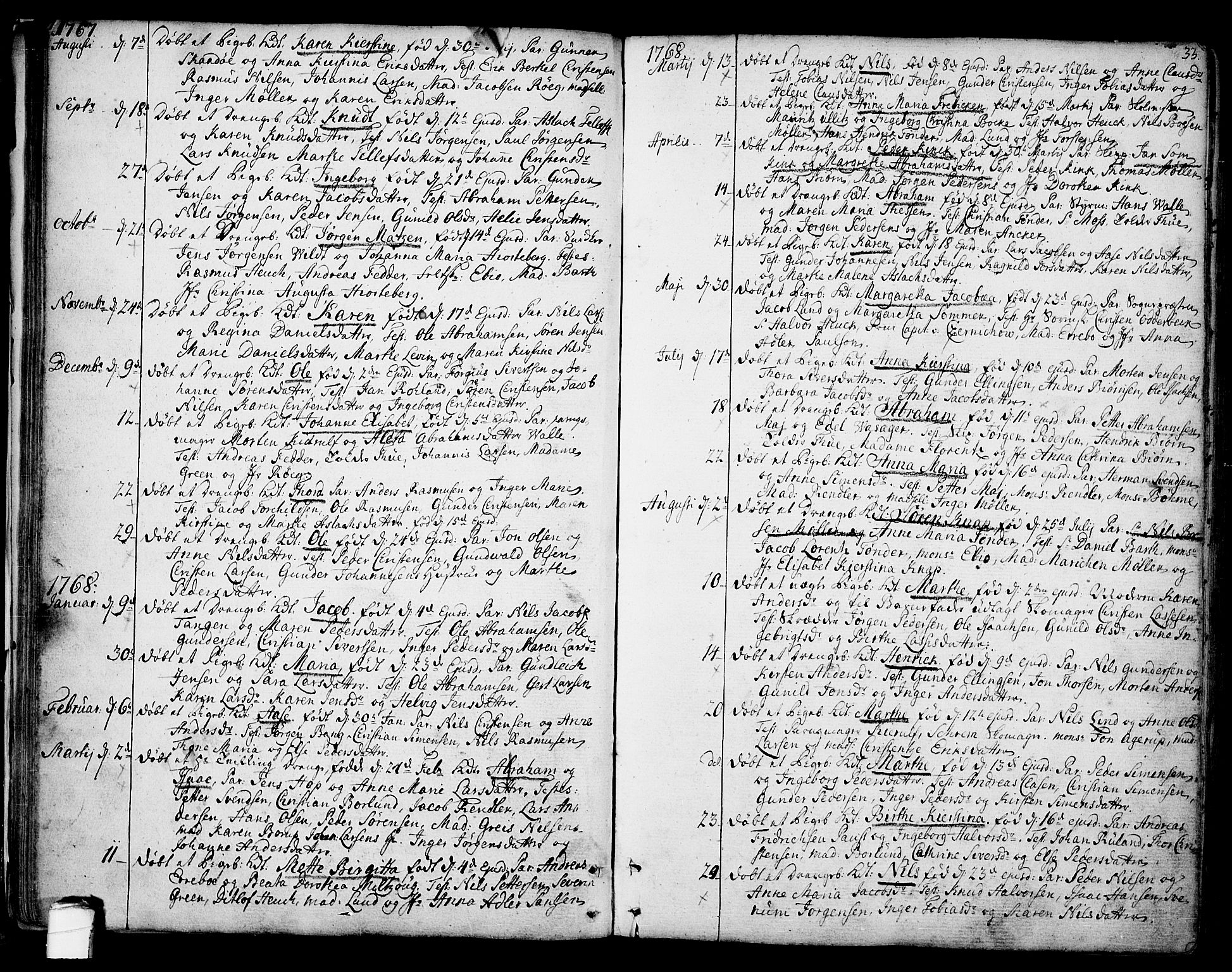 SAKO, Kragerø kirkebøker, F/Fa/L0002: Ministerialbok nr. 2, 1767-1802, s. 33