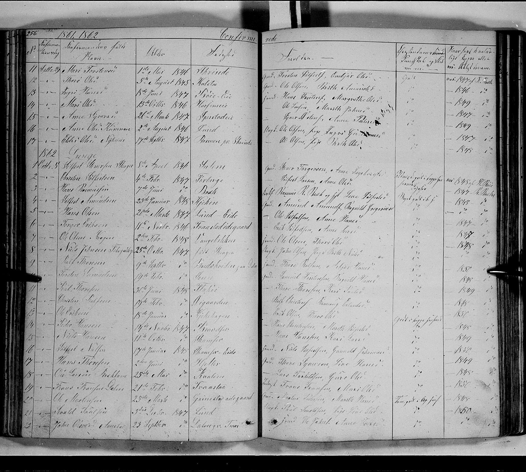 SAH, Lom prestekontor, L/L0004: Klokkerbok nr. 4, 1845-1864, s. 256-257