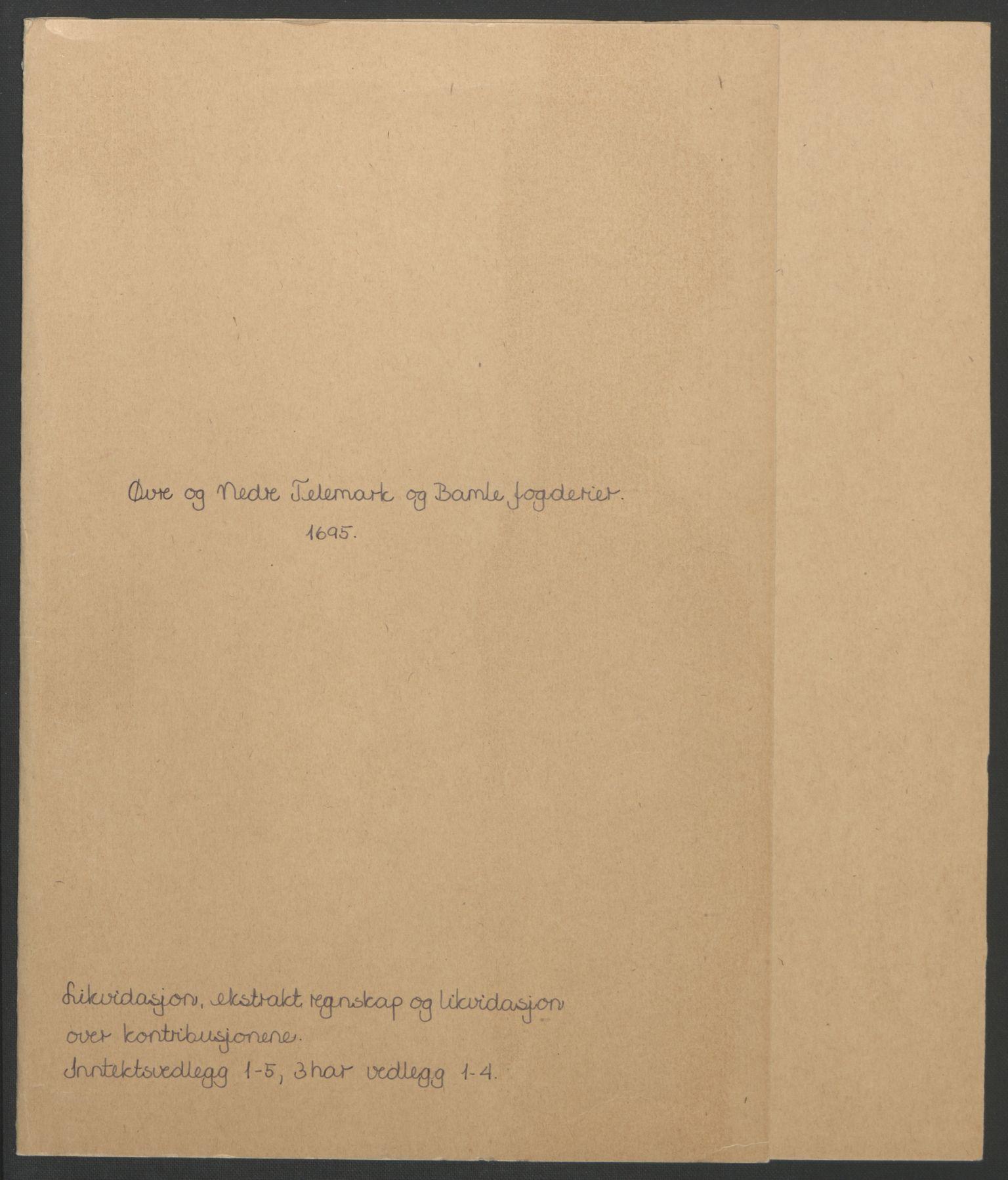 RA, Rentekammeret inntil 1814, Reviderte regnskaper, Fogderegnskap, R36/L2093: Fogderegnskap Øvre og Nedre Telemark og Bamble, 1695, s. 3