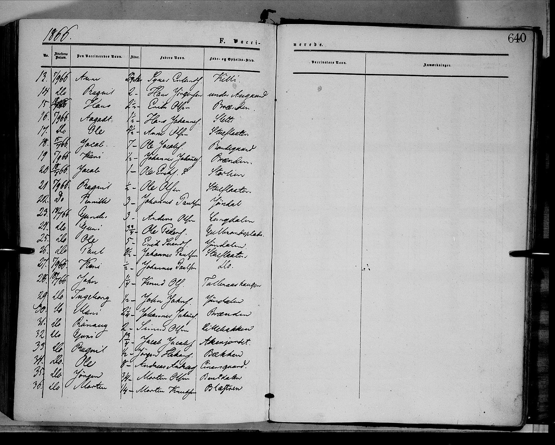 SAH, Dovre prestekontor, Ministerialbok nr. 1, 1854-1878, s. 640