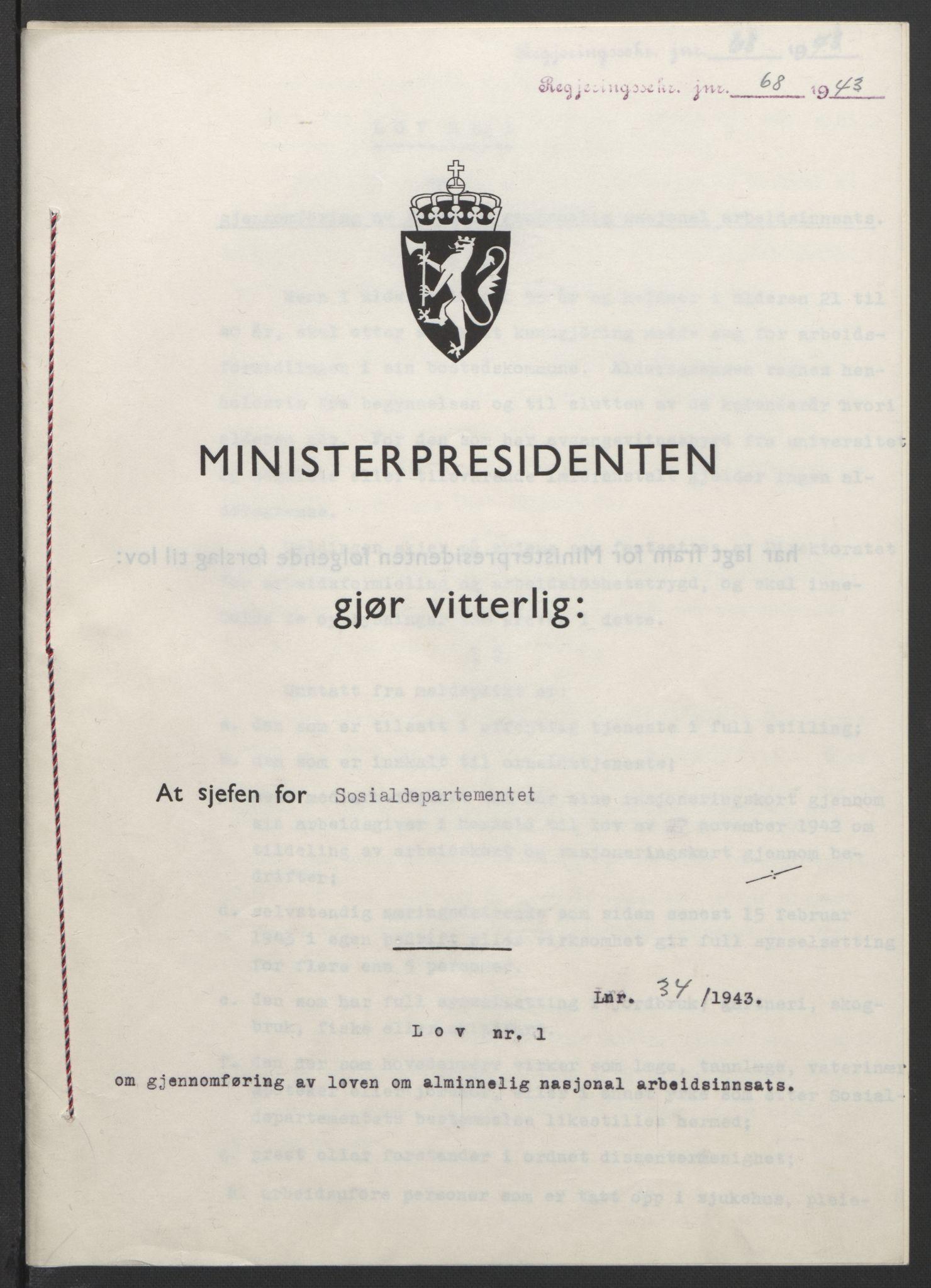 RA, NS-administrasjonen 1940-1945 (Statsrådsekretariatet, de kommisariske statsråder mm), D/Db/L0099: Lover, 1943, s. 140