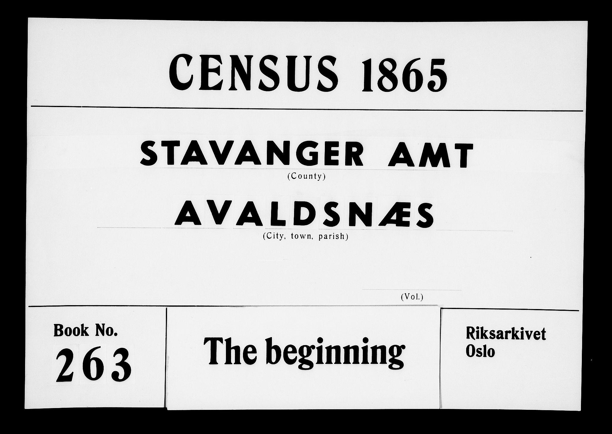 RA, Folketelling 1865 for 1147P Avaldsnes prestegjeld, 1865, s. 1