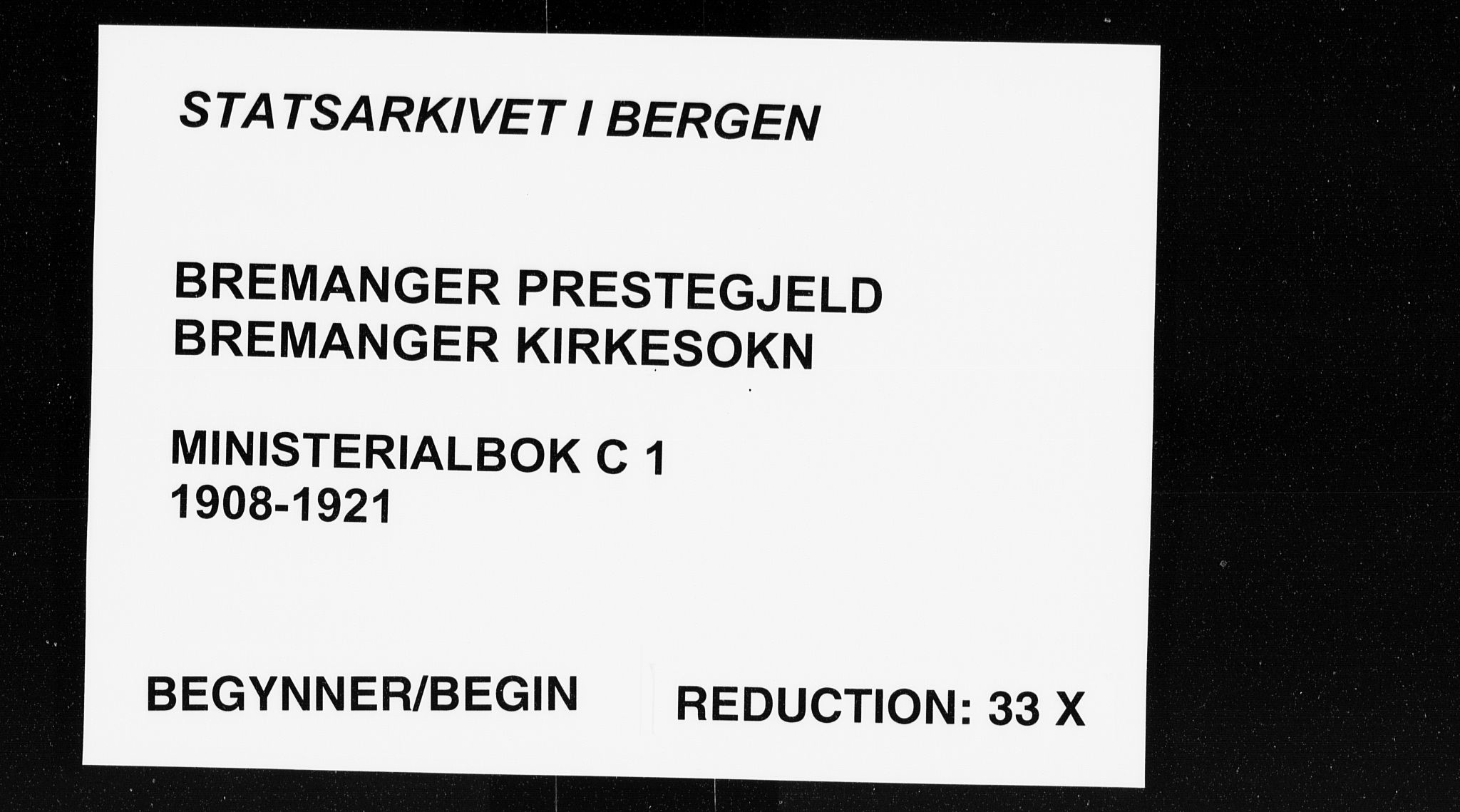 SAB, Bremanger Sokneprestembete, H/Haa: Ministerialbok nr. C 1, 1908-1921