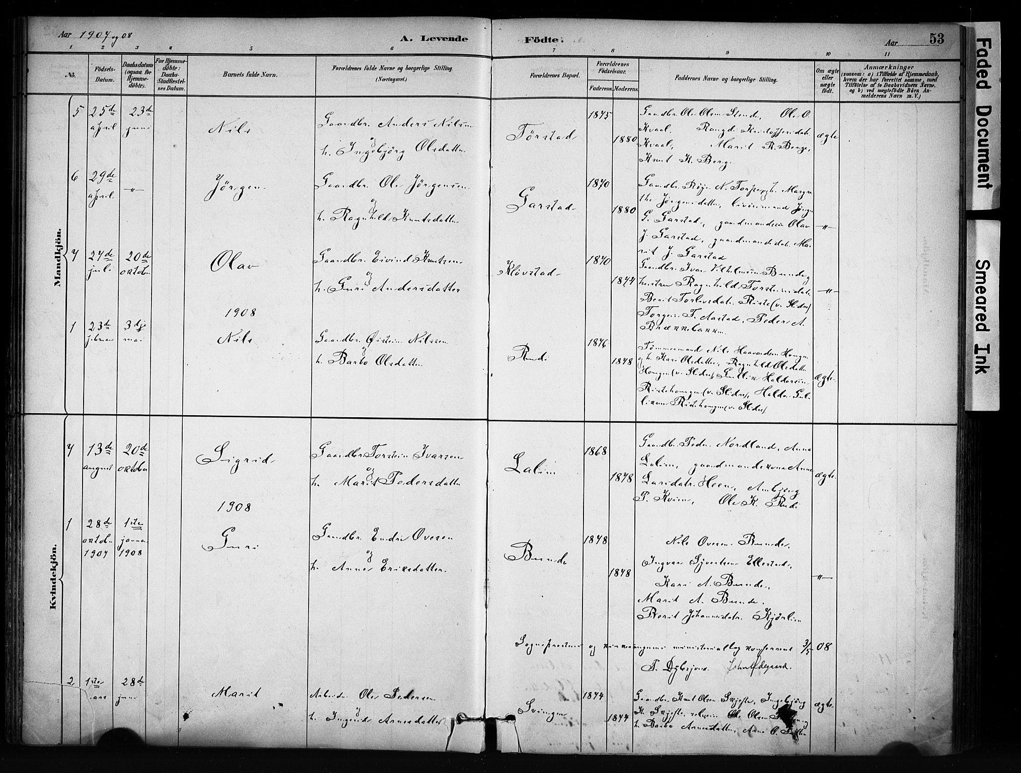 SAH, Vang prestekontor, Valdres, Ministerialbok nr. 9, 1882-1914, s. 53