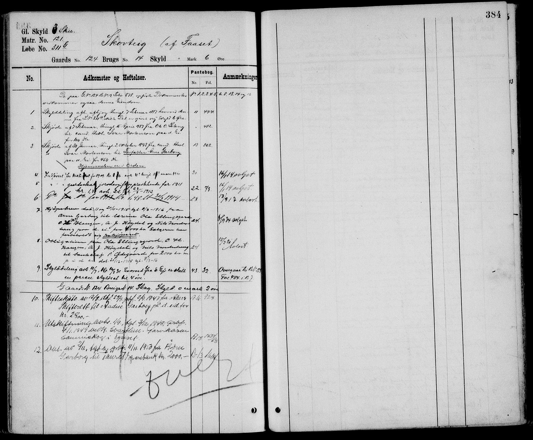 SAH, Nord-Østerdal tingrett, H/Ha/Hag/L0041: Panteregister nr. 5, 1896, s. 384