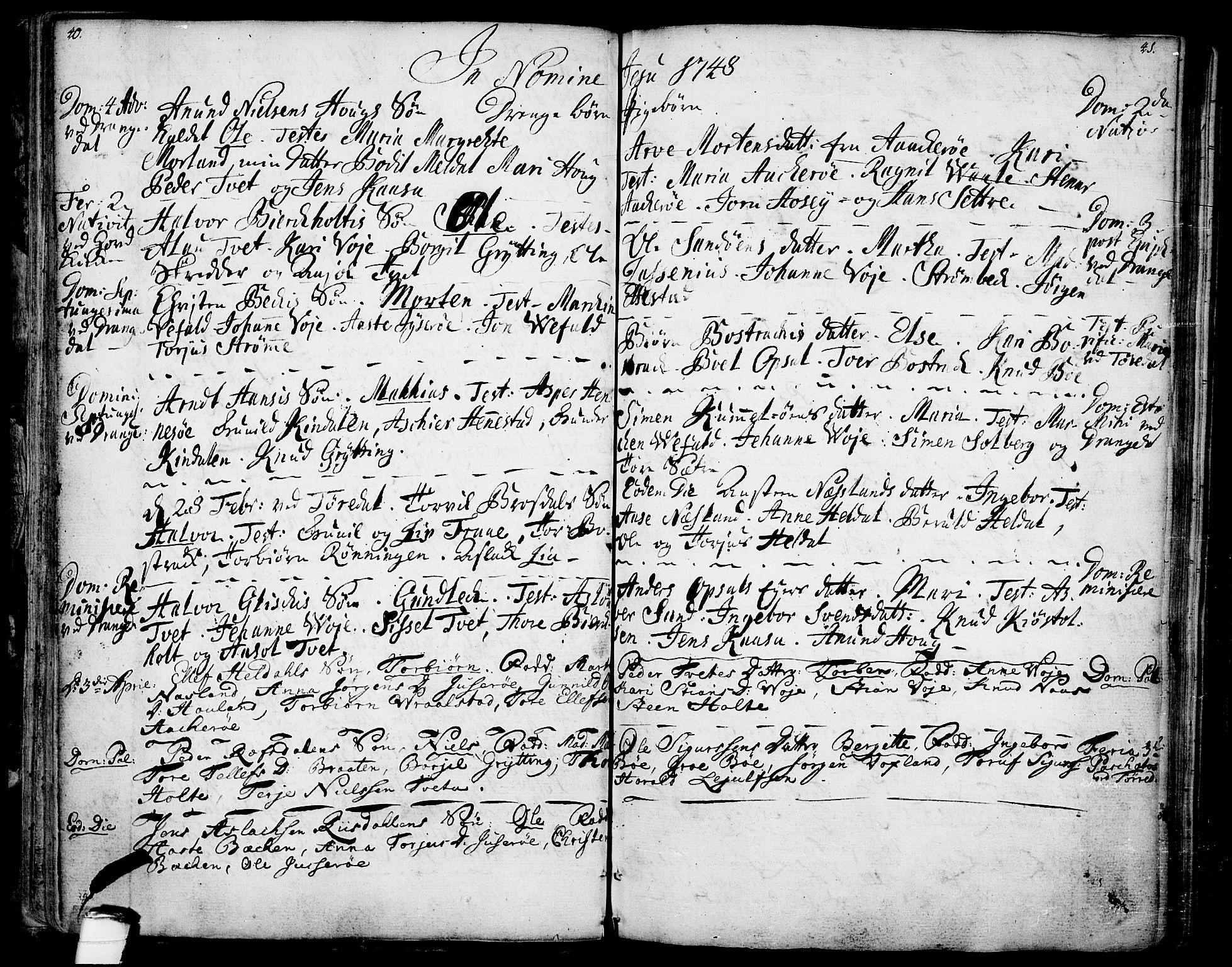 SAKO, Drangedal kirkebøker, F/Fa/L0001: Ministerialbok nr. 1, 1697-1767, s. 40-41
