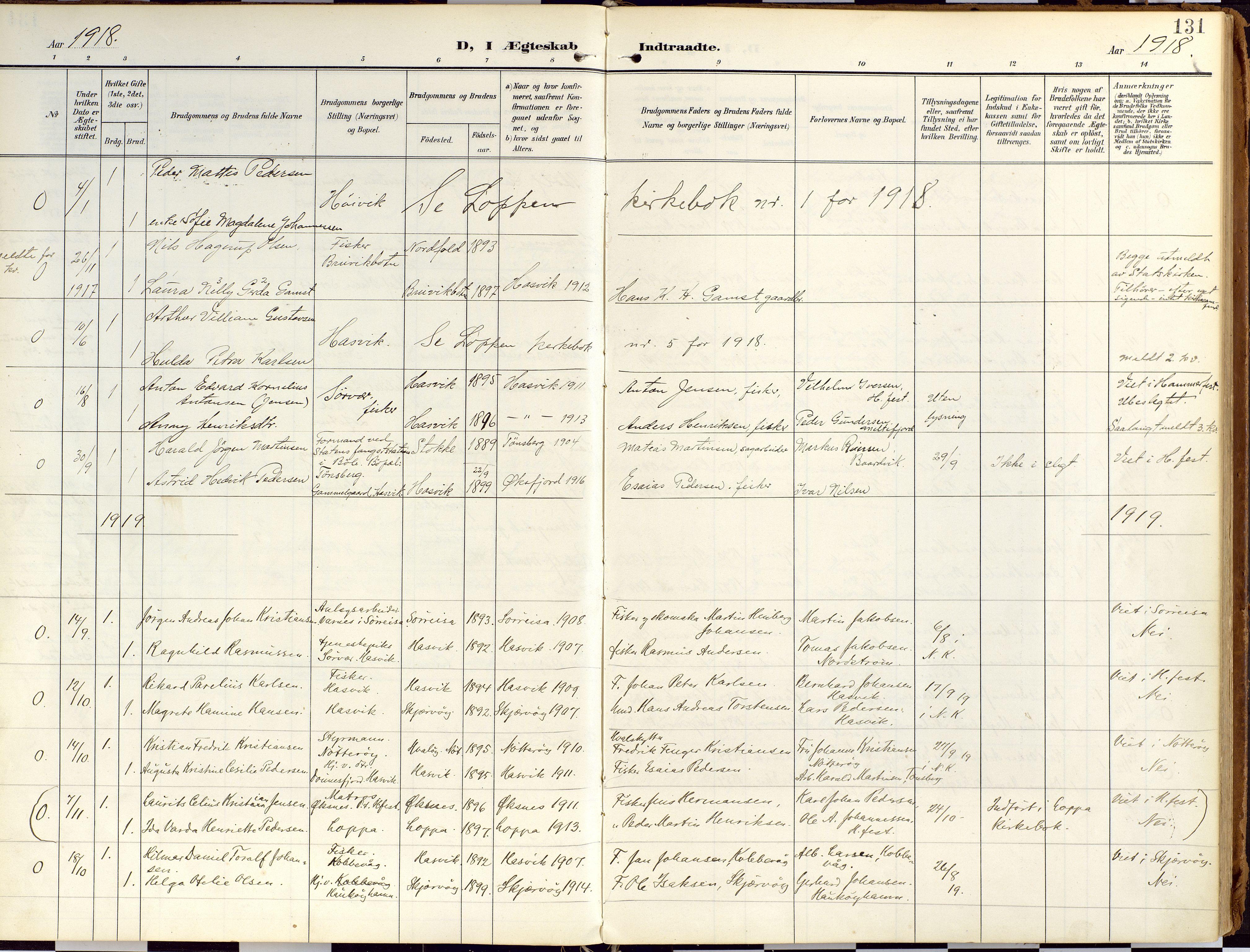 SATØ, Loppa sokneprestkontor, H/Ha/L0010kirke: Ministerialbok nr. 10, 1907-1922, s. 131