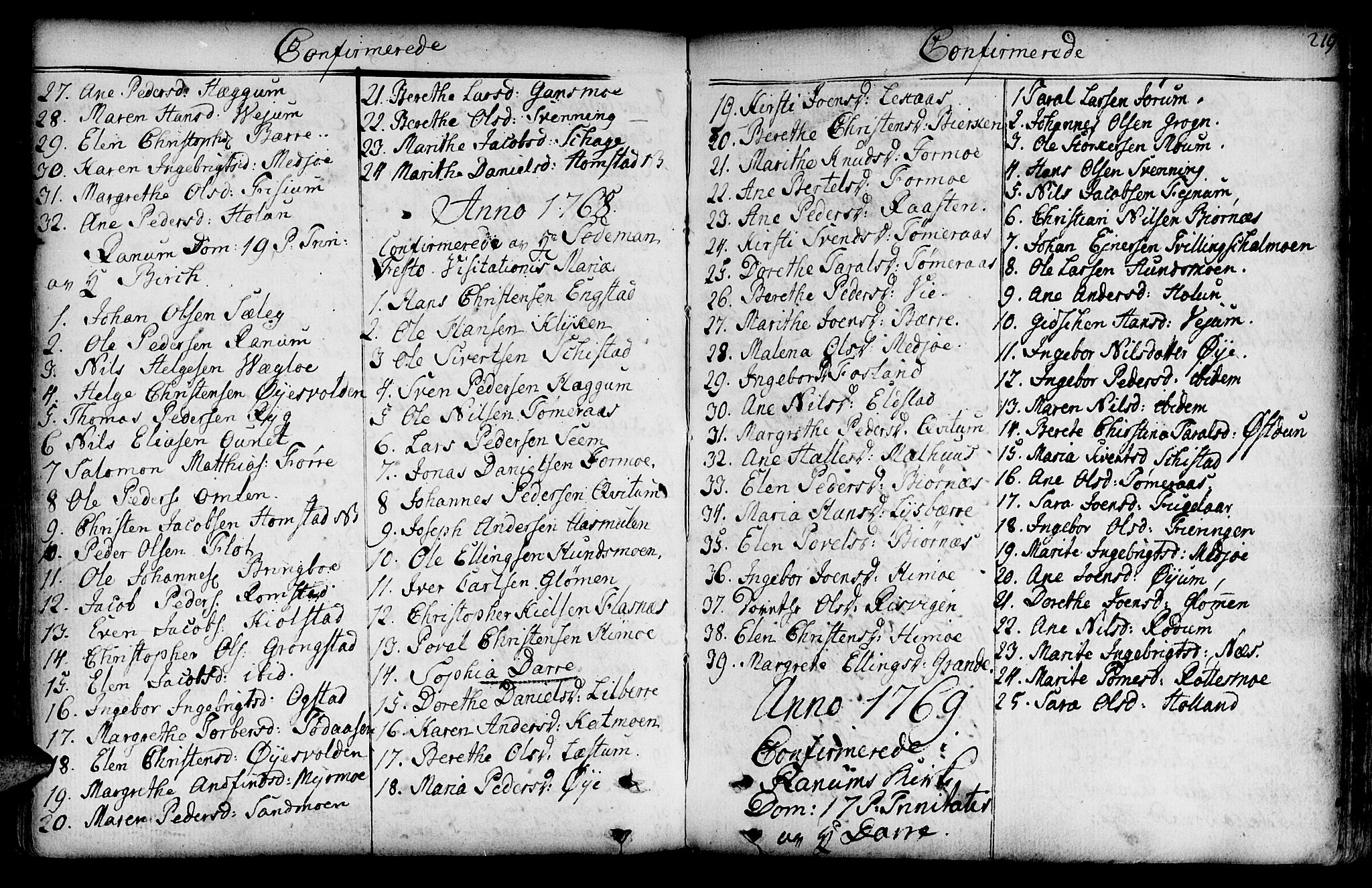 SAT, Ministerialprotokoller, klokkerbøker og fødselsregistre - Nord-Trøndelag, 764/L0542: Ministerialbok nr. 764A02, 1748-1779, s. 219