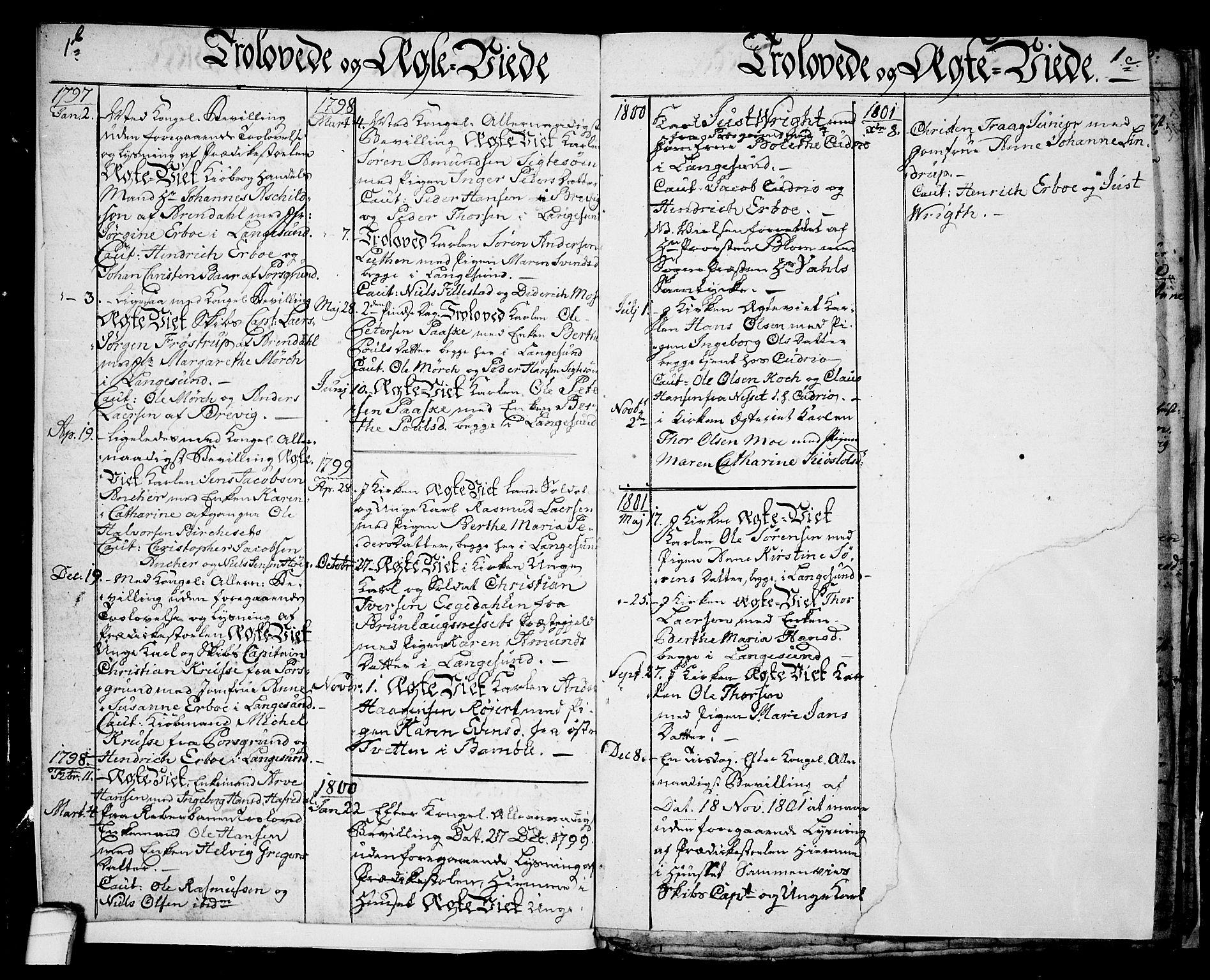 SAKO, Langesund kirkebøker, G/Ga/L0001: Klokkerbok nr. 1, 1783-1801, s. 1