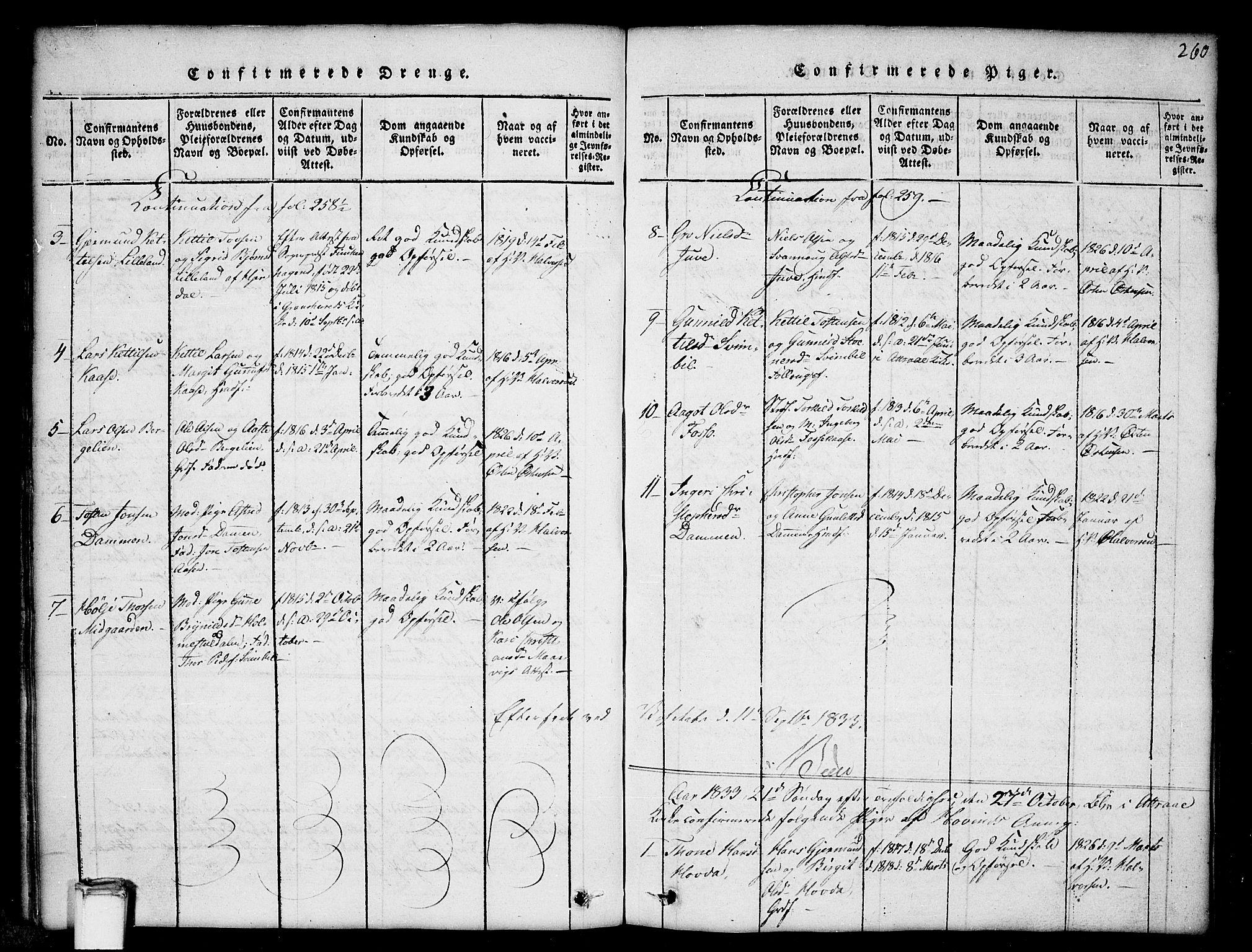 SAKO, Gransherad kirkebøker, G/Gb/L0001: Klokkerbok nr. II 1, 1815-1860, s. 260